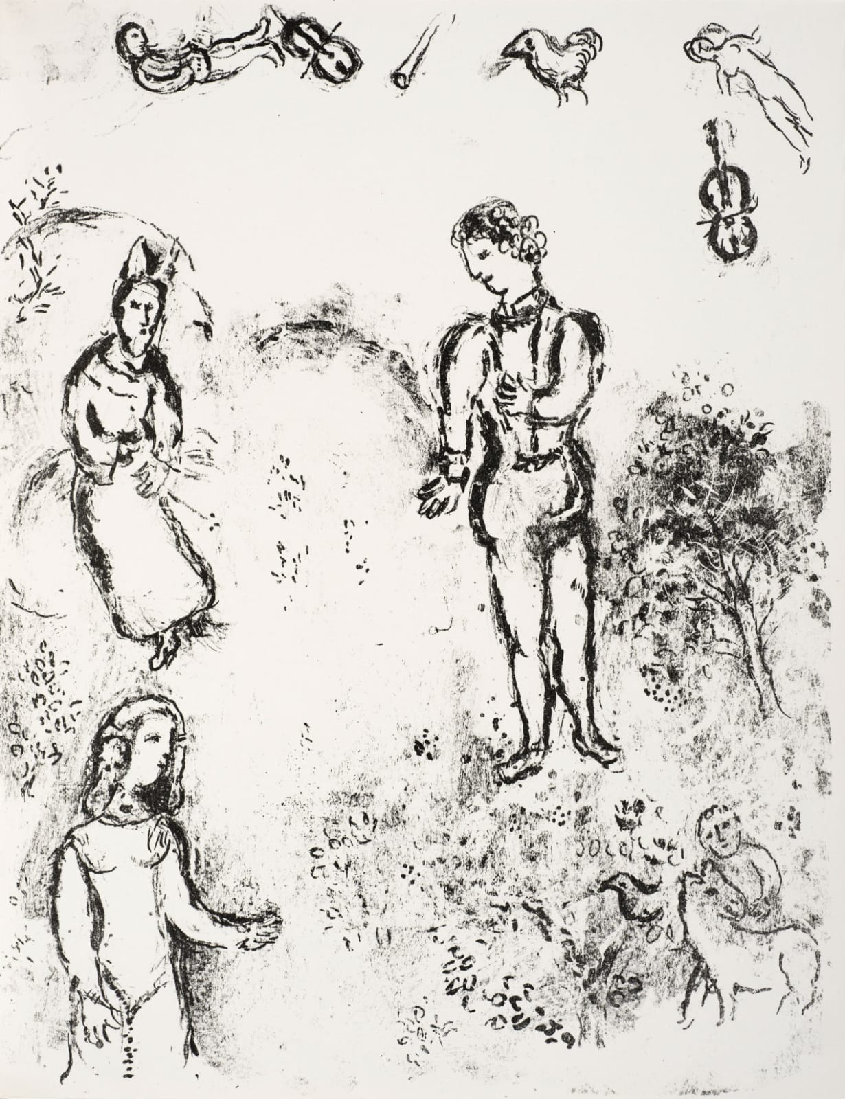 Marc Chagall (1887-1985) Ferdinand, Miranda, and Prospero, with musical Spirits flying above (Series: Shakespeare The Tempest) 1975 Lithograph 42.5 x 32.5 cm Ben Uri Collection © Marc Chagall estate To see and discover more about this artist click here