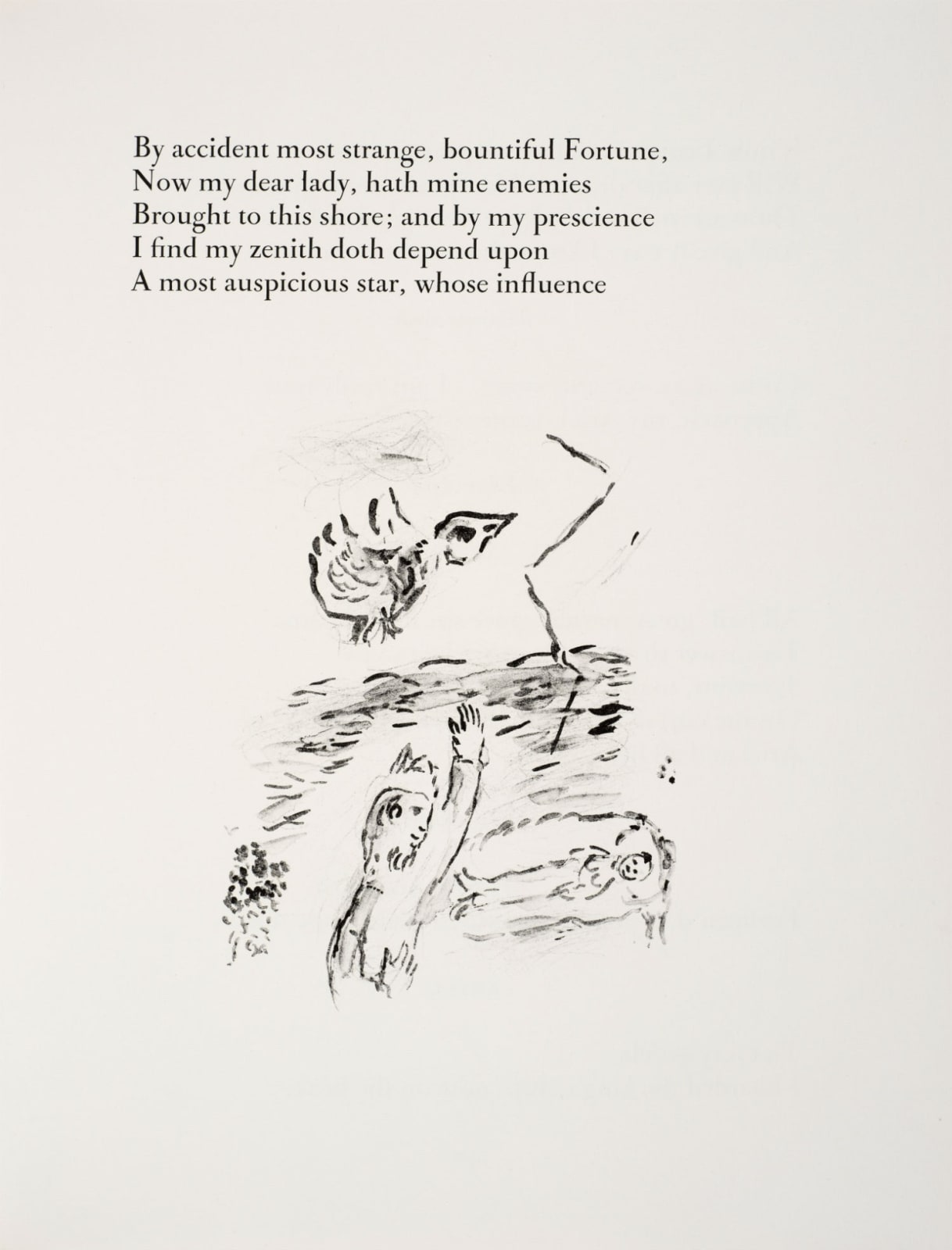 Marc Chagall (1887-1985) Prospero charms Miranda to sleep (Series: Shakespeare The Tempest) 1975 Lithograph 42.5 x 32.5 cm Ben Uri Collection © Marc Chagall estate To see and discover more about this artist click here