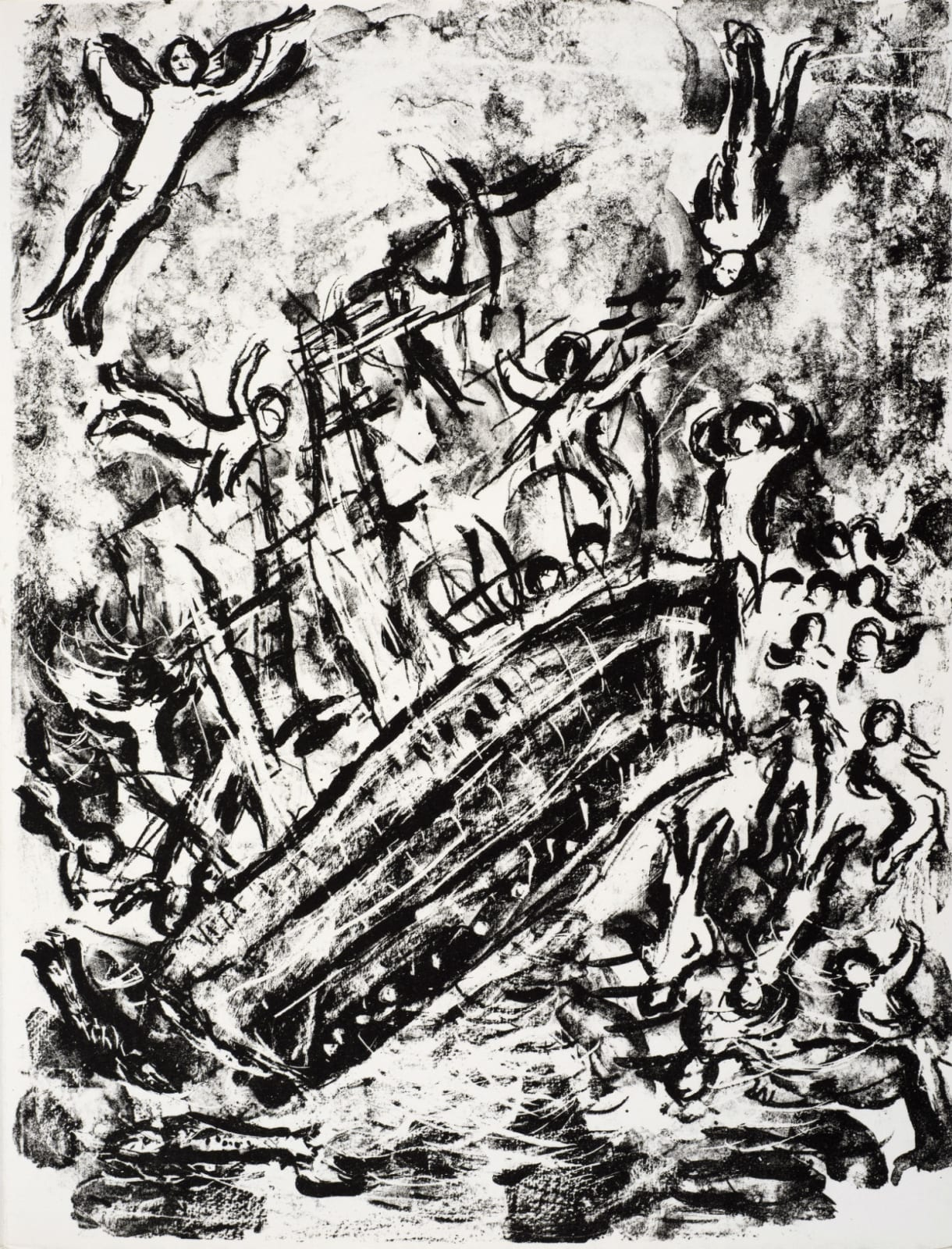 Marc Chagall (1887-1985) The Ship lists and the Passengers are panic-stricken (Series: Shakespeare The Tempest) 1975 Lithograph 42.5 x 32.5 cm Ben Uri Collection © Marc Chagall estate To see and discover more about this artist click here