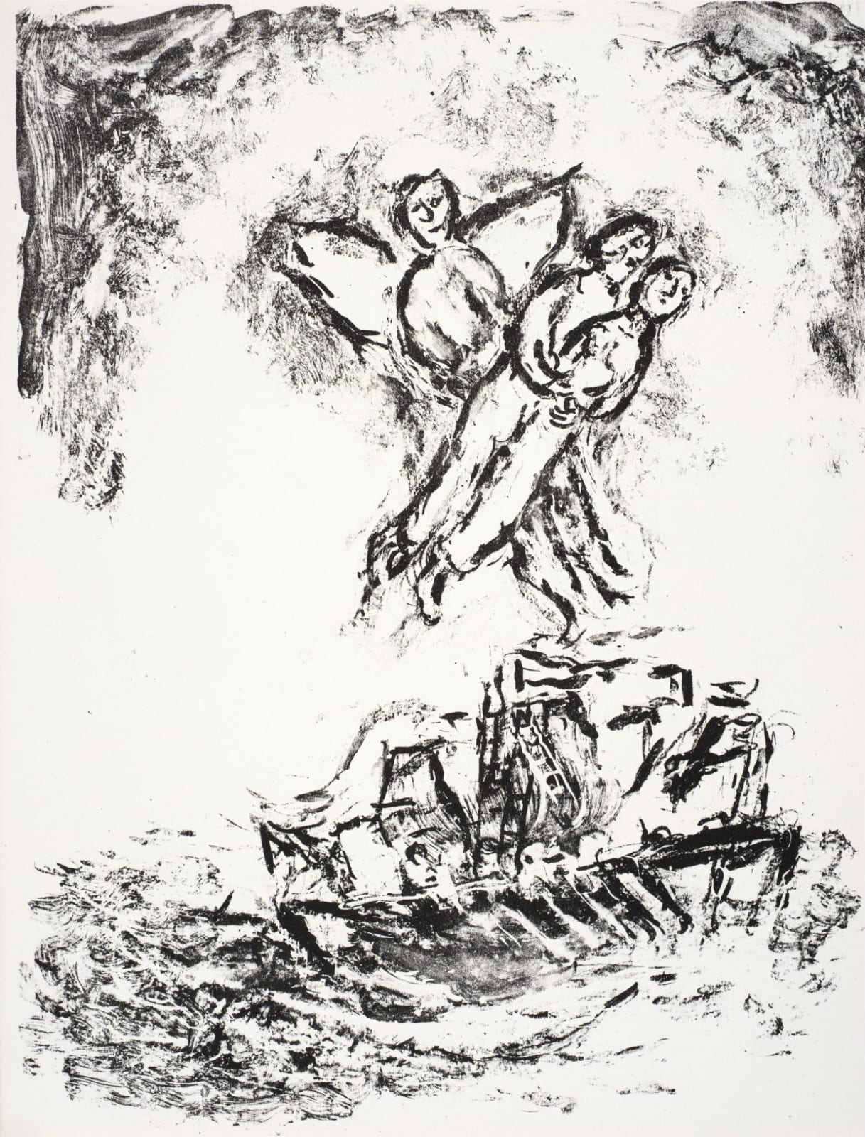 Marc Chagall (1887-1985) Ariel hovers above the Ship, carrying the embracing Lovers (Series: Shakespeare The Tempest) 1975 Lithograph 42.5 x 32.5 cm Ben Uri Collection © Marc Chagall estate To see and discover more about this artist click here