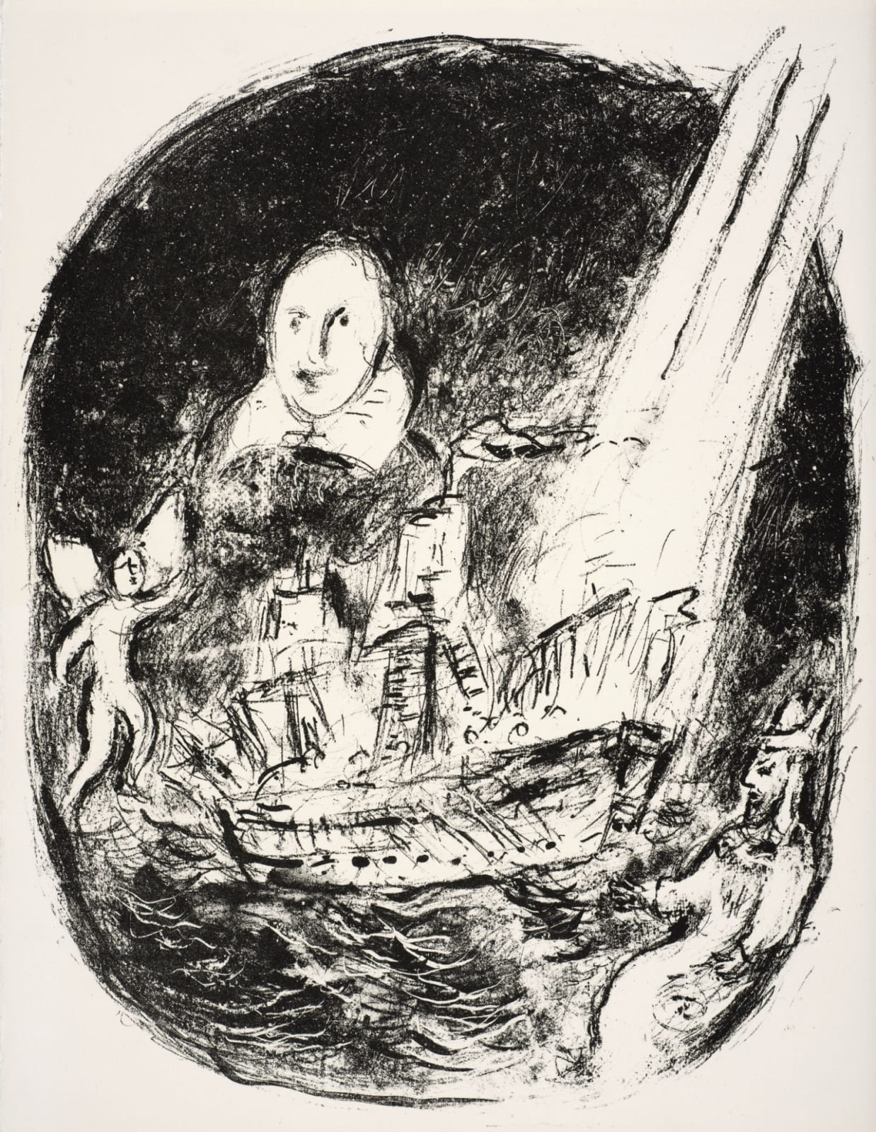 Marc Chagall (1887-1985) Shakespeare's portrait, the ship struck by lightning and the play's protagonists (Series: Shakespeare The Tempest) 1975 Lithograph 42.5 x 32.5 cm Ben Uri Collection © Marc Chagall estate To see and discover more about this artist click here