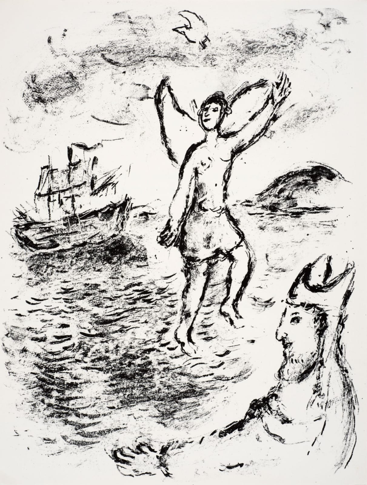 Marc Chagall (1887-1985) Prospero sets Ariel free, and He is seen treading the Sea (Series: Shakespeare The Tempest) 1975 Lithograph 42.5 x 32.5 cm Ben Uri Collection © Marc Chagall estate To see and discover more about this artist click here