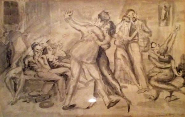 Emmanuel Levy (1900-1986) Dancers c.1930s-40s Pen and ink and wash on paper Ben Uri Collection © Emmanuel Levy estate