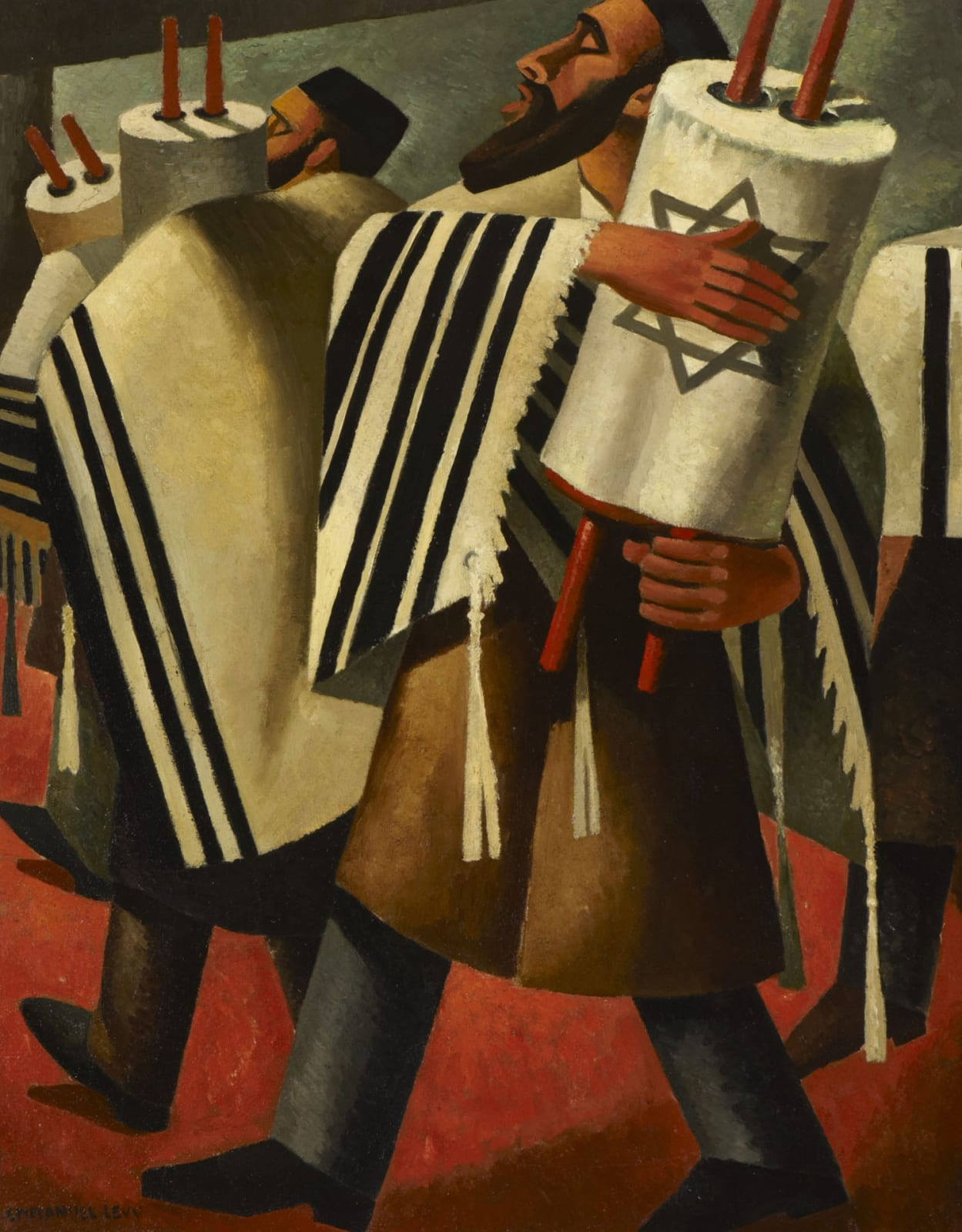 Emmanuel Levy (1900-1986) Two Rabbis Carrying the Scrolls of the Law 1943 Oil on canvas 75.5 x 60 cm Ben Uri Collection © Emmanuel Levy estate