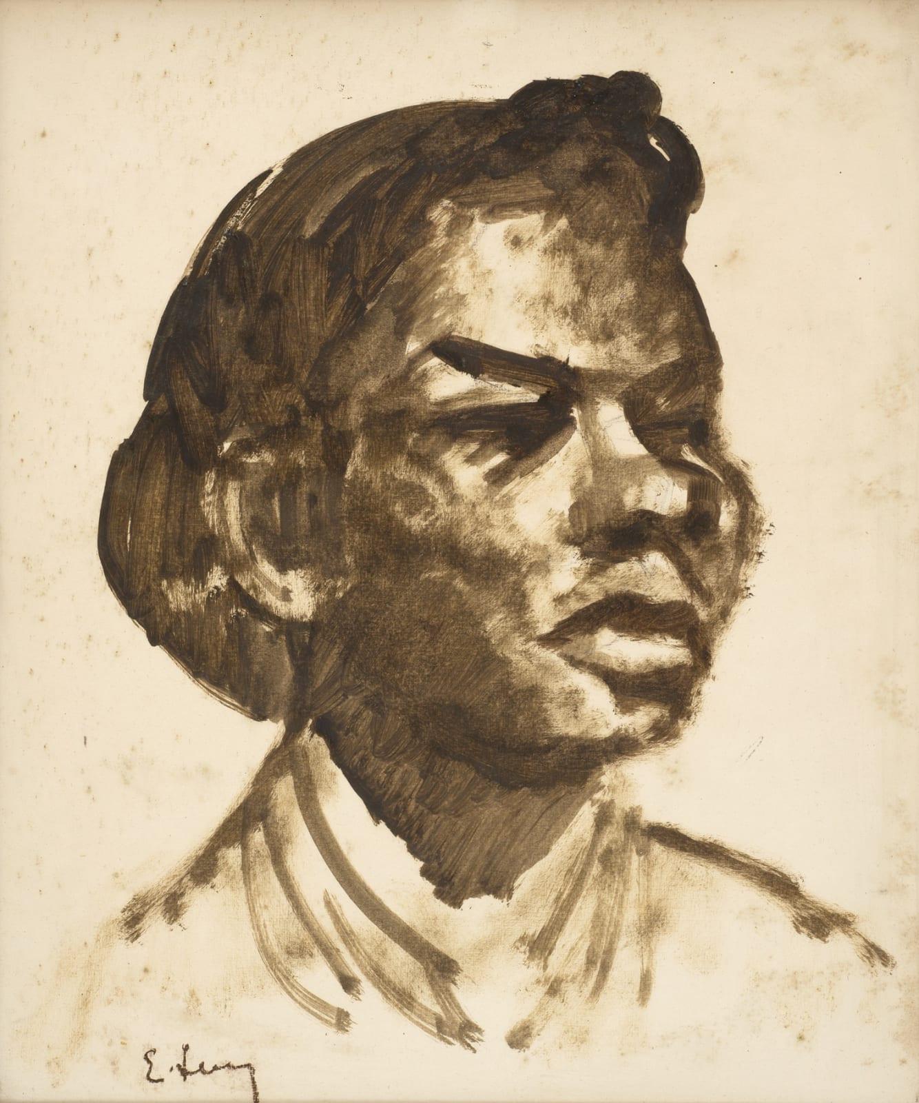 Emmanuel Levy (1900-1986) Head of a Girl n.d. Pencil and gouache on paper 44.2 x 37 cm Ben Uri Collection © Emmanuel Levy estate
