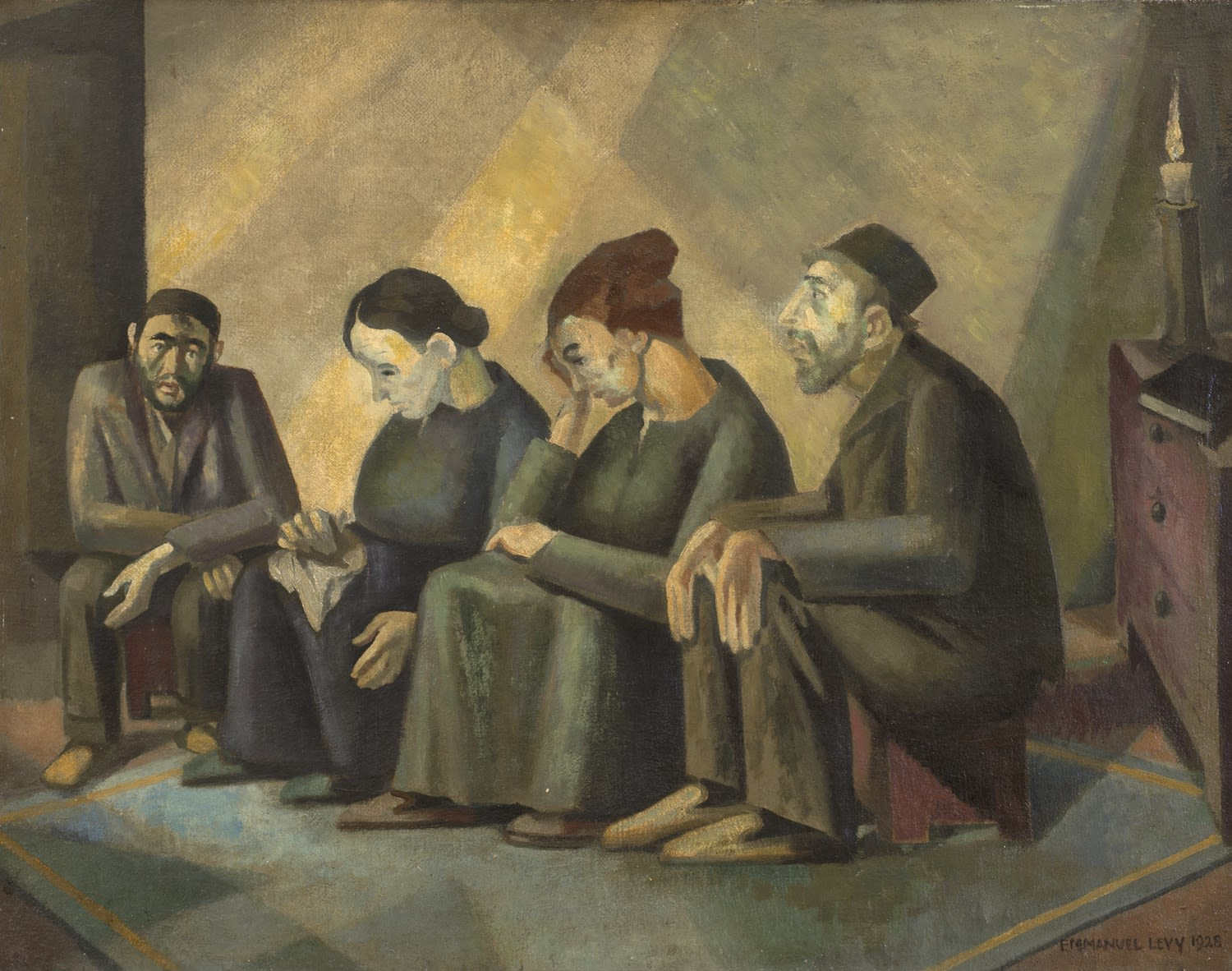 Emmanuel Levy (1900-1986) The Mourners (Sitting Shiva) 1928 Oil on canvas 72.5 x 91 cm Ben Uri Collection © Emmanuel Levy estate