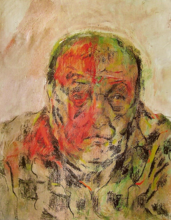 Alfred Harris (1930-) Notes Towards a Self Portrait: Check Shirt 2011 Oil and charcoal on canvas 53.5 x 42.5 cm Ben Uri Collection © Alfred Harris