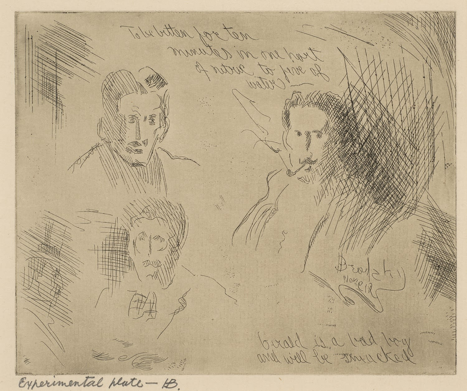 Horace Brodzky (1885-1969) Experimental Plate 1B (Three Self-portraits) c.1912 Etching on paper 13.8 x 16.2 cm Ben Uri Collection © Horace Brodzky estate