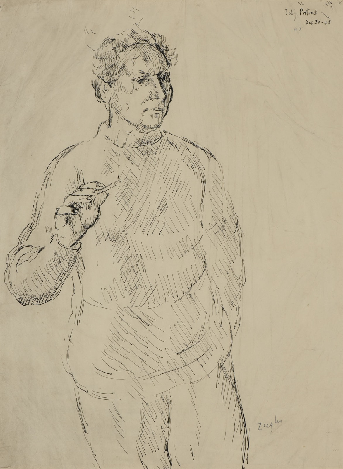 Archibald Ziegler (1903-1971) Self Portrait 1948 Pen and ink on paper 45.8 x 33.8 cm Ben Uri Collection © Archibald Ziegler estate