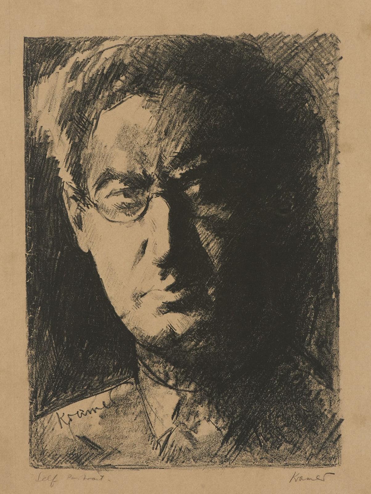 Jacob Kramer (1892-1962) Self Portrait n.d. Lithograph on paper 44.6 x 33.3 cm Ben Uri Collection © Jacob Kramer estate