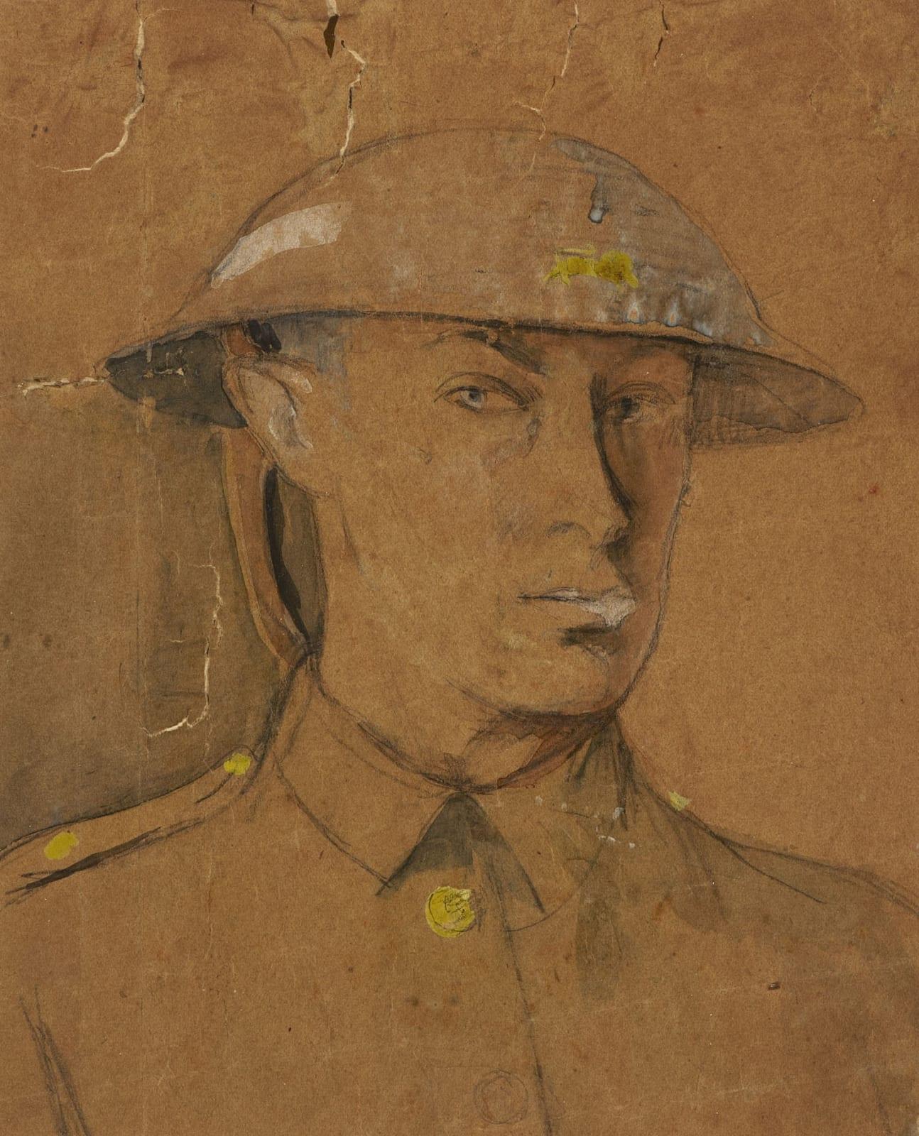 Isaac Rosenberg (1890-1918) Self Portrait in Steel Helmet 1916 Black chalk, gouache and wash on paper 22.4 x 19.6 cm Ben Uri Collection