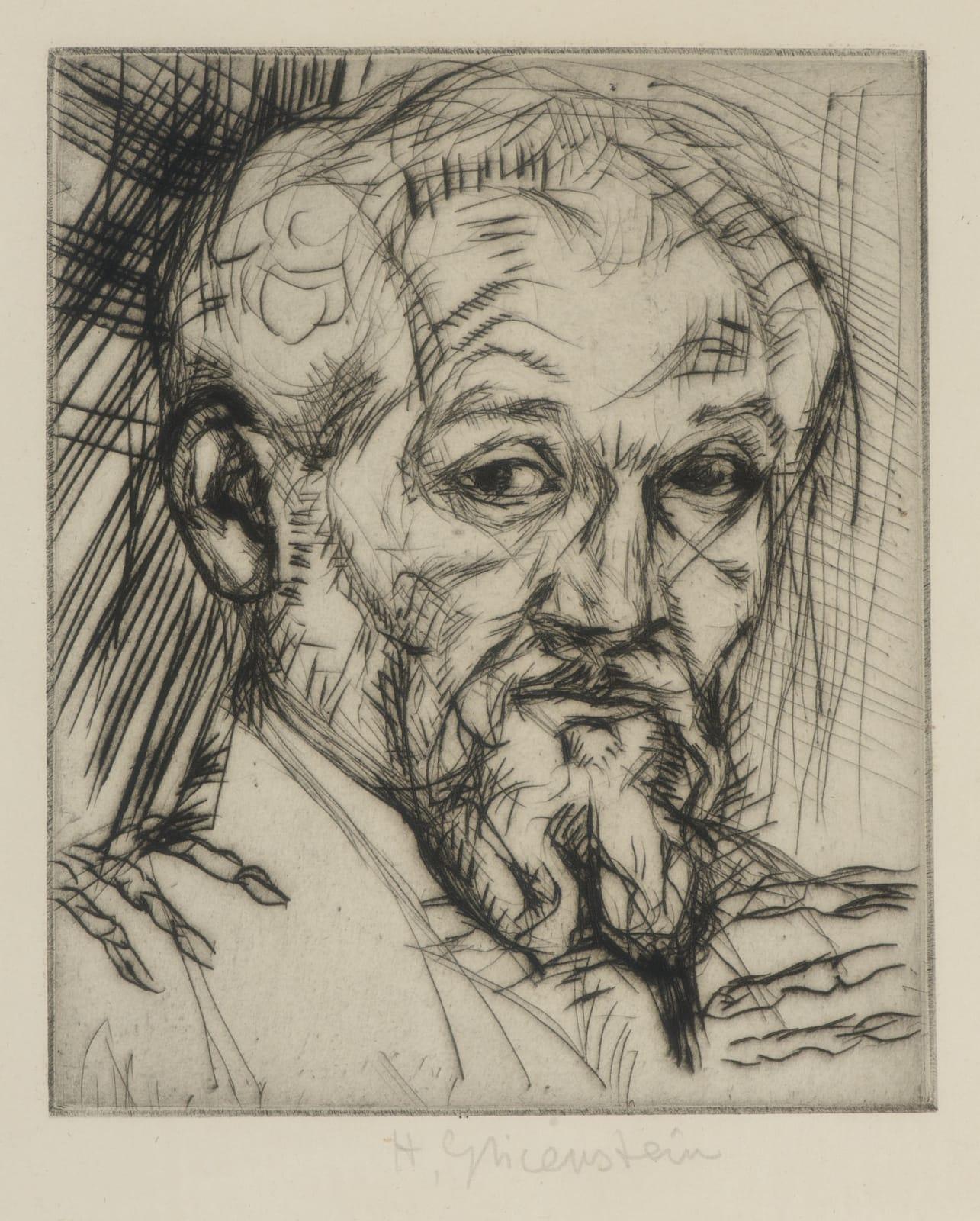 Enrico Glicenstein (1870-1942) Self Portrait n.d. Etching and drypoint 18 x 14.5 cm Ben Uri Collection