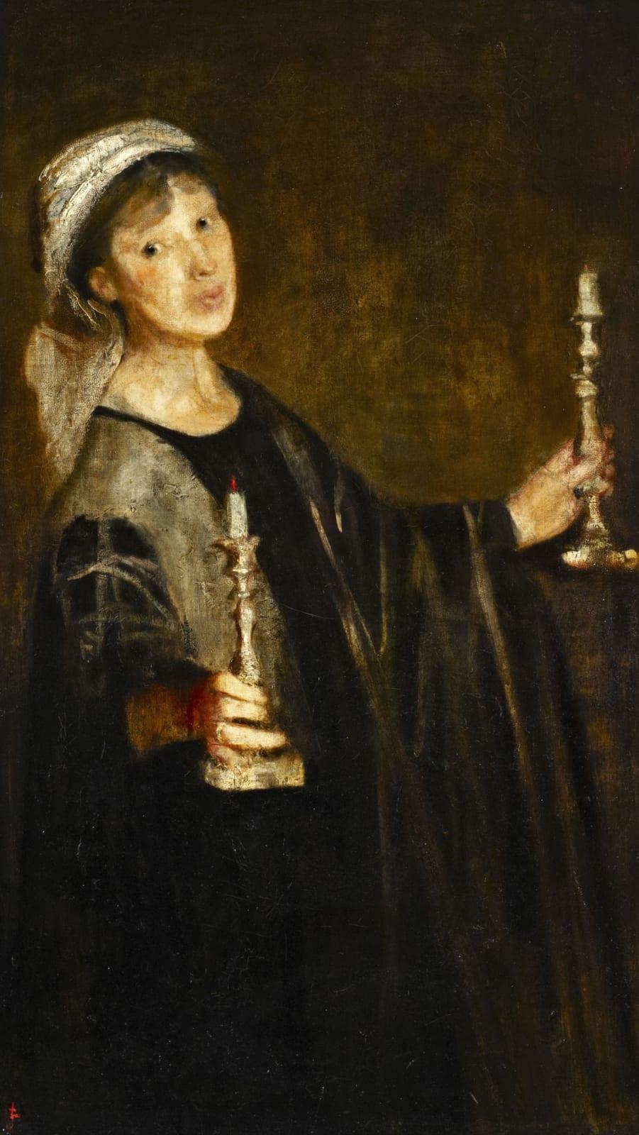 Lily Delissa Joseph (1863-1940) Self Portrait with Candles c.1906 Oil on canvas 105.5 x 59.5 cm Ben Uri Collection