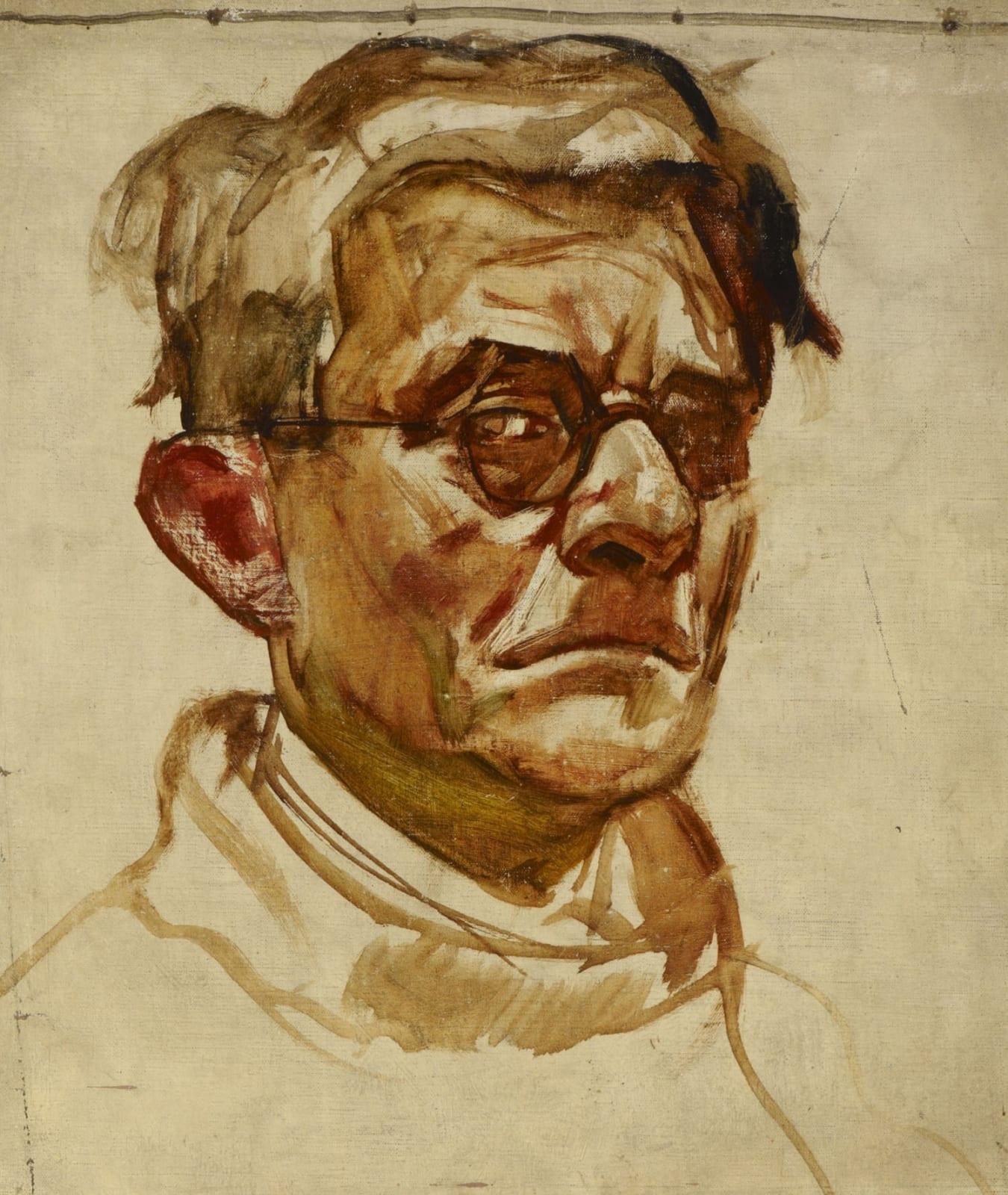 Eugen Hersch (1887-1967) Self Portrait Sketch n.d. Oil on canvas on board 39 x 35 cm Ben Uri Collection © Eugen Hersch estate