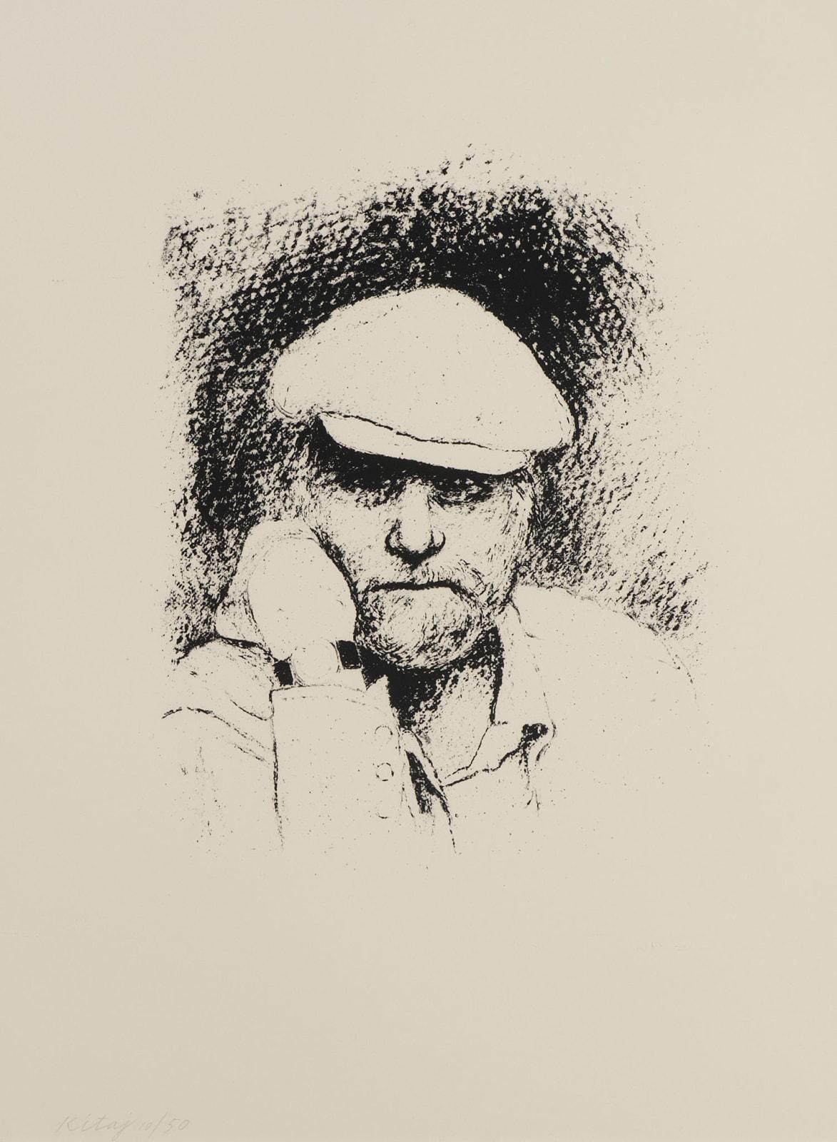 R. B. Kitaj (1932-2007) Self Portrait with Cap c.1975-76 Lithograph on paper 73 x 53.8 cm Ben Uri Collection © R. B. Kitaj estate