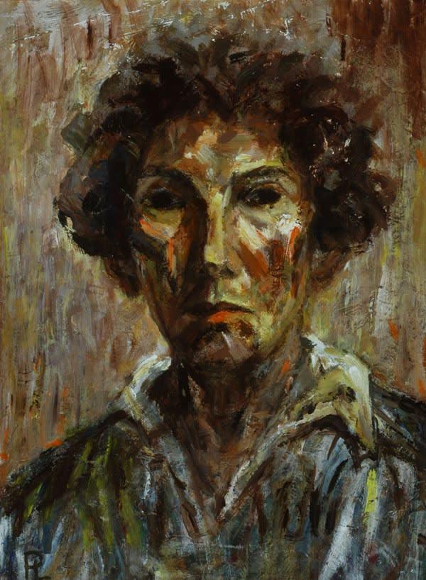 Pamina Liebert-Mahrenholz (1904-2004) Self Portrait c.1980 Acrylic on board 42 x 31.5 cm Ben Uri Collection © Pamina Liebert-Mahrenholz estate