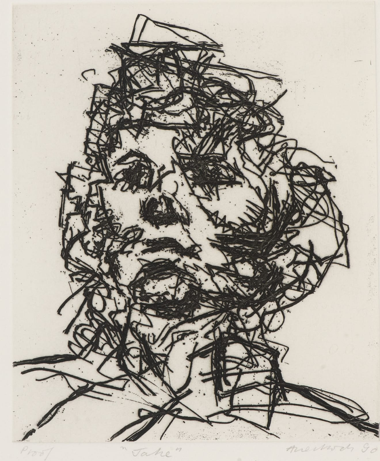 Frank Auerbach (1931-) Jake, Series: Part of Seven Portraits 1990 Etching, printed on Somerset white paper, artist's proof outside the published edition of 50 20 x 16.5 cm Ben Uri Collection © Frank Auerbach, courtesy Marlborough Fine Art To see and discover more about this artist click here