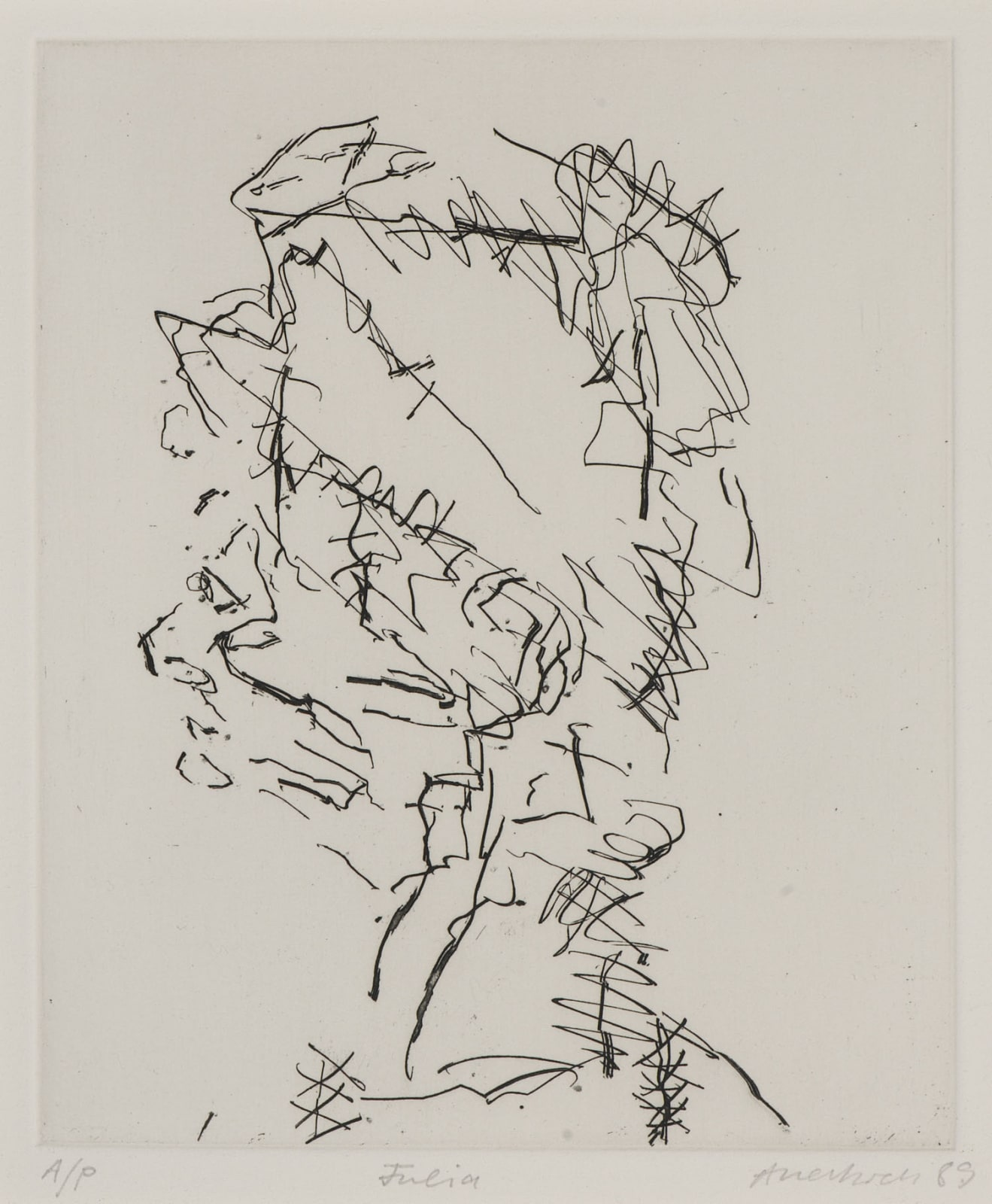 Frank Auerbach (1931-) Julia, Series: Part of Seven Portraits 1989 Etching, printed on Somerset white paper, artist's proof outside the published edition of 50 19.5 x 16.5 cm Ben Uri Collection © Frank Auerbach, courtesy Marlborough Fine Art To see and discover more about this artist click here