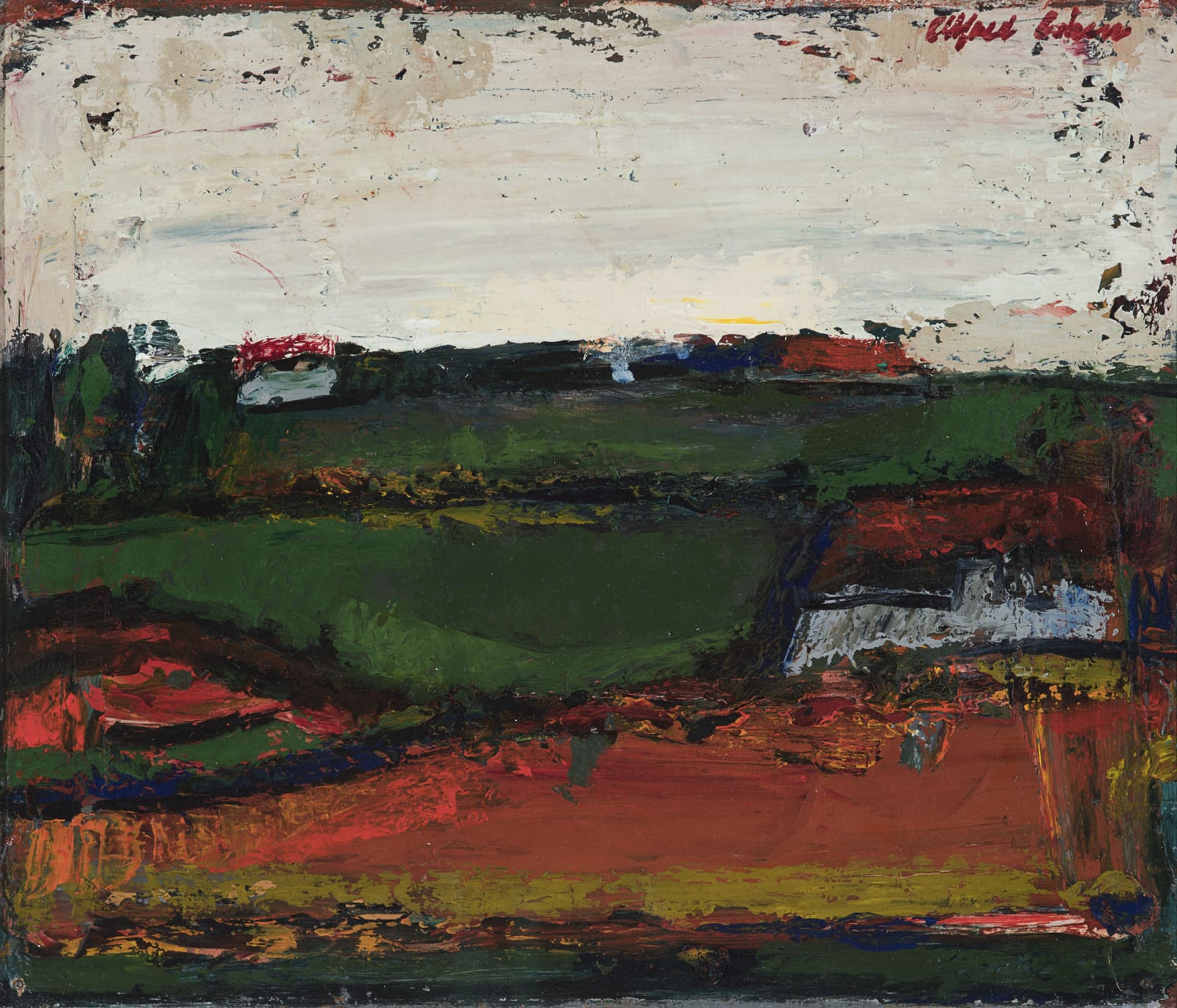 Alfred Cohen (1920-2001) Abstract Landscape 1964 Oil on board 25.7 x 29.9 cm Private Collection © Estate of Alfred Cohen 2020