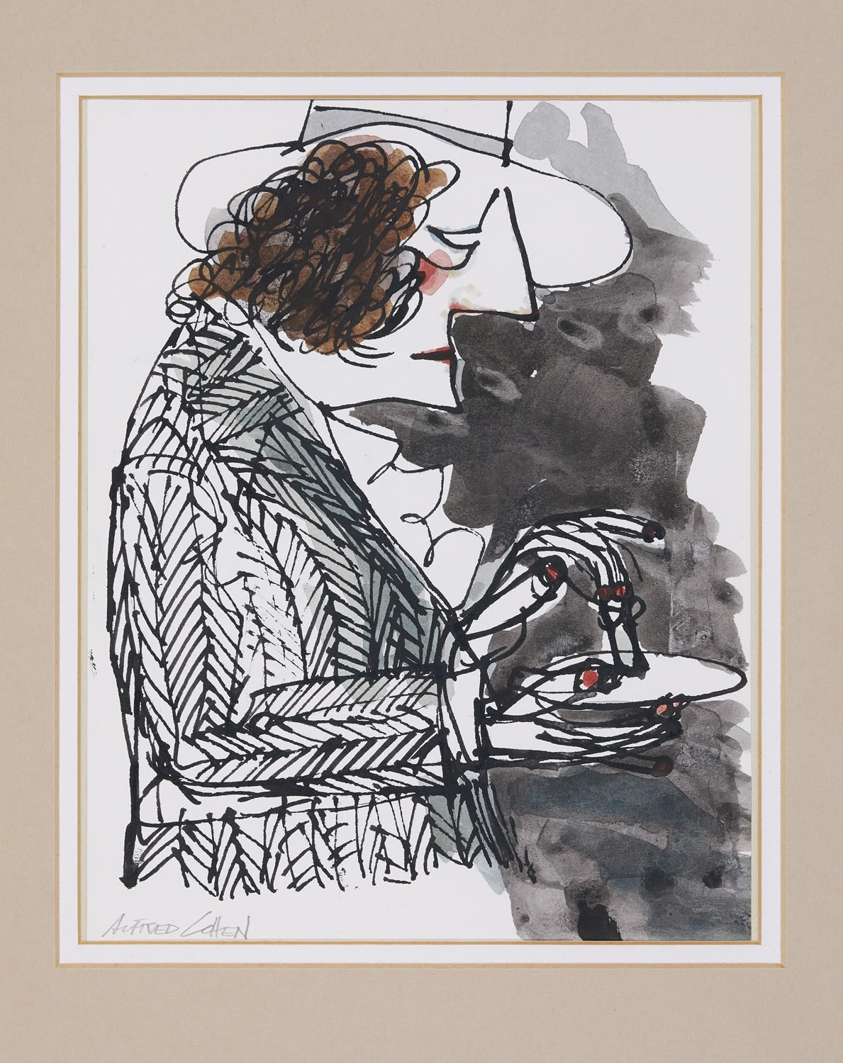 Alfred Cohen (1920-2001) Canape c. 1980 Ink and watercolour 25.4 x 20.3 cm Private Collection © Estate of Alfred Cohen 2020