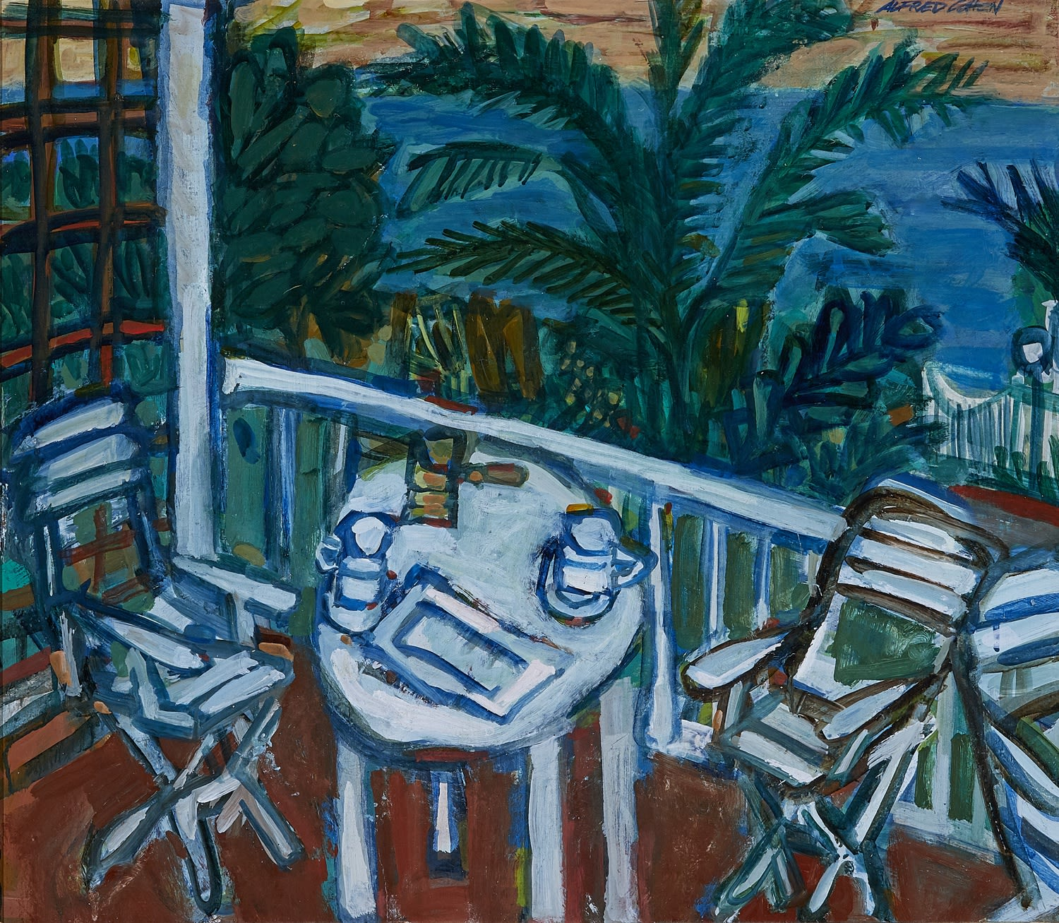 Alfred Cohen (1920-2001) Catia's Terrace 1991 Oil on canvas 55.9 x 63.5 cm Private Collection © Estate of Alfred Cohen 2020