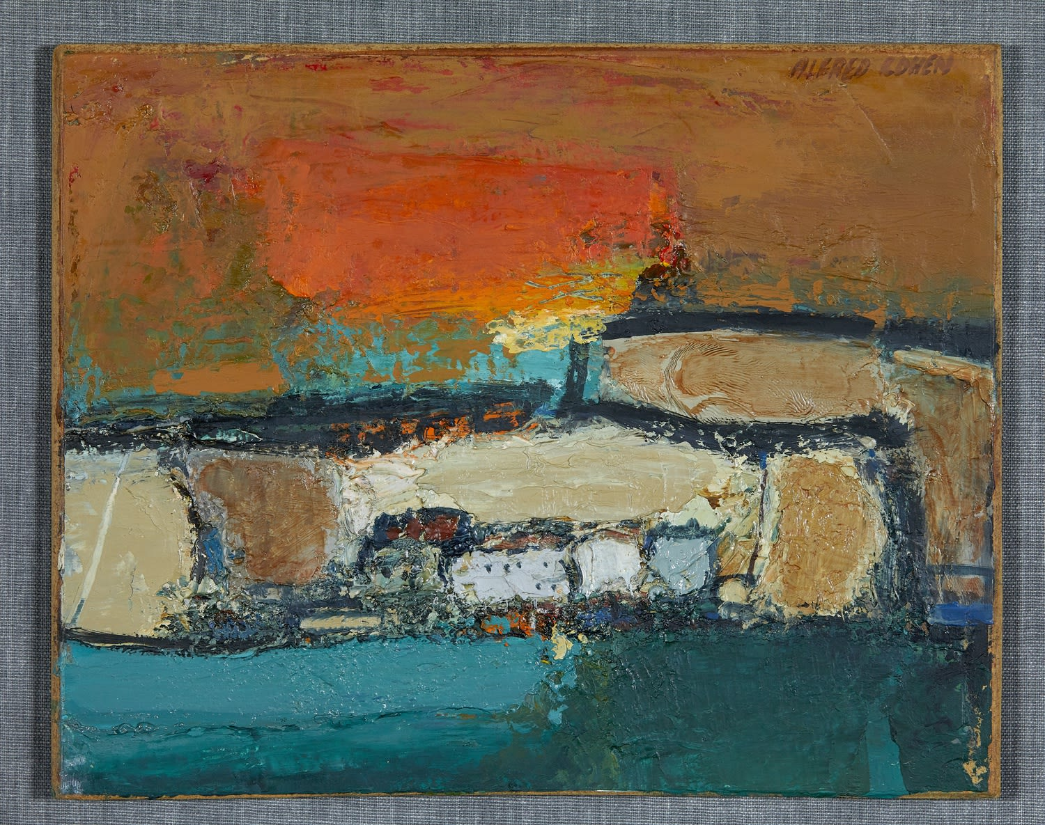 Alfred Cohen (1920-2001) Coastal Picture 1966 Oil on board 20.3 x 25.4 cm Collection: Max Saunders © Estate of Alfred Cohen 2020