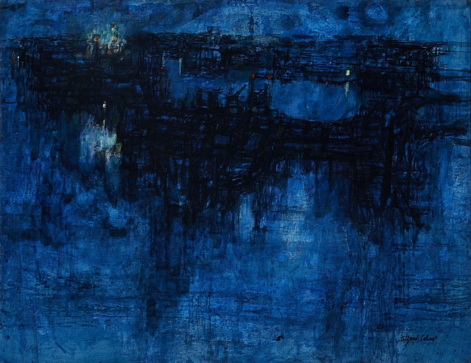 Alfred Cohen (1920-2001) Docklands Night 1961 Oil on canvas 71.1 x 91.4 cm Collection: The Lampon Family © Estate of Alfred Cohen 2020