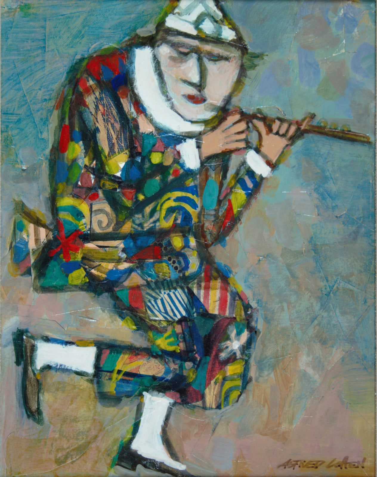 Alfred Cohen (1920-2001) Flautino: Figure from the Commedia dell'Arte 1985 Oil paint and collage 29.3 x 22.9 cm Collection: Max Saunders © Estate of Alfred Cohen 2020