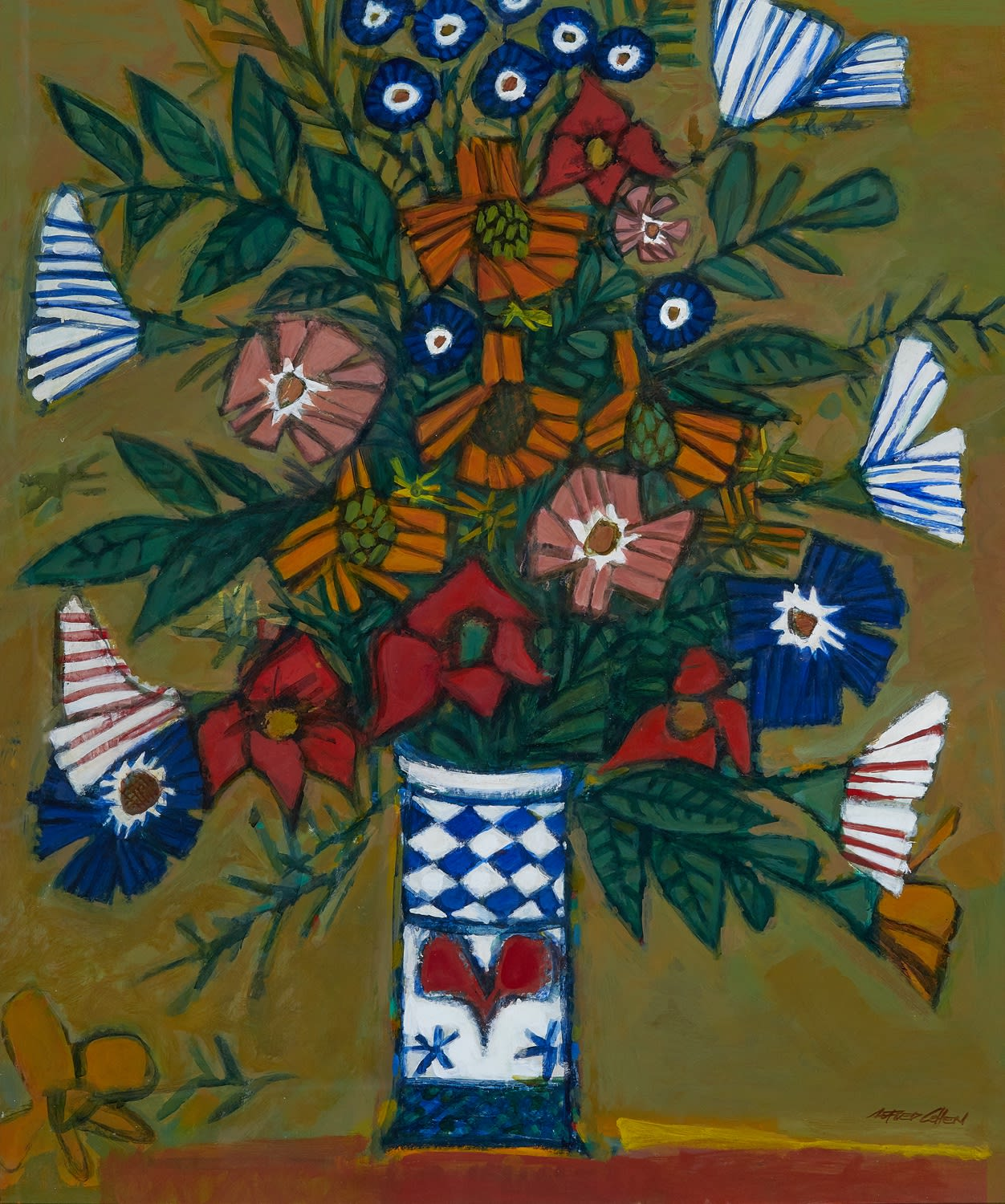 Alfred Cohen (1920-2001) Flowers 1985 Oil on board 91.5 x 76 cm Private Collection © Estate of Alfred Cohen 2020