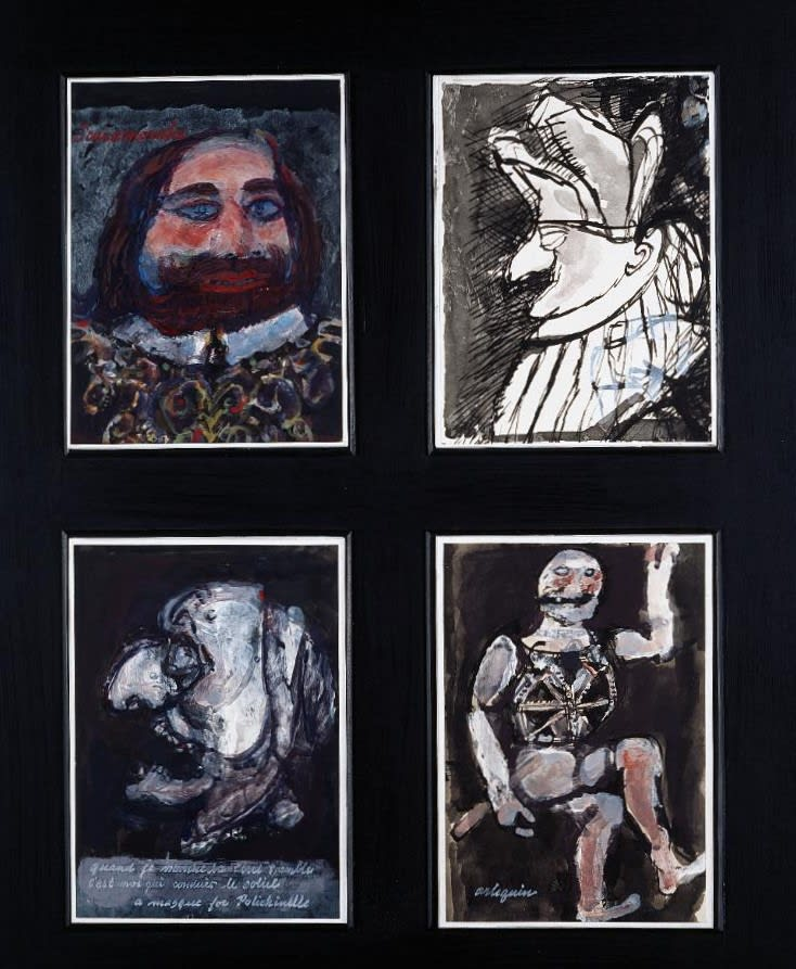 Alfred Cohen (1920-2001) Four Pictures from the Commedia dell'Arte 1964 Ink and wash and gouache 27.9 x 20.3 cm Alfred Cohen Art Foundation © Estate of Alfred Cohen 2020