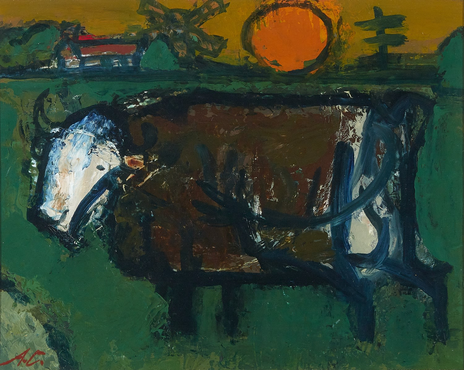 Alfred Cohen (1920-2001) La Vache 1976 Oil on canvas panel 20.3 x 25.4 cm The Artist's Estate © Estate of Alfred Cohen 2020