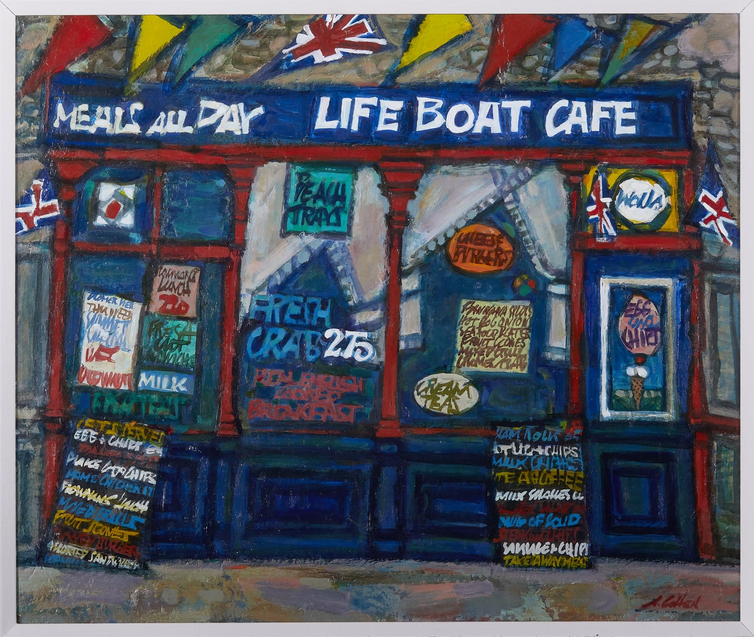 Alfred Cohen (1920-2001) Life-Boat Café 1988 Oil on paper mounted to hardboard 55.9 x 66 cm © Estate of Alfred Cohen 2020