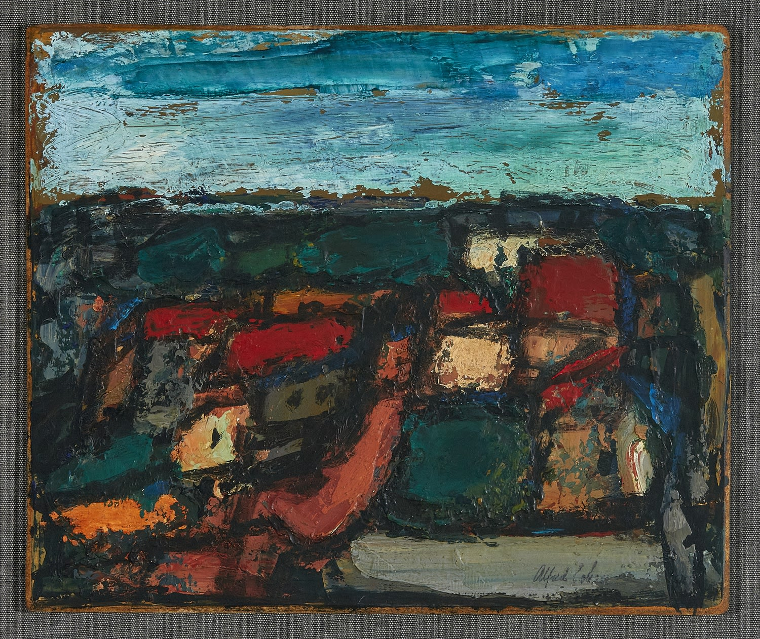 Alfred Cohen (1920-2001) Near Goudhurst 1965 Oil on board 24.8 x 29.9 cm Collection: Diana Cohen © Estate of Alfred Cohen 2020