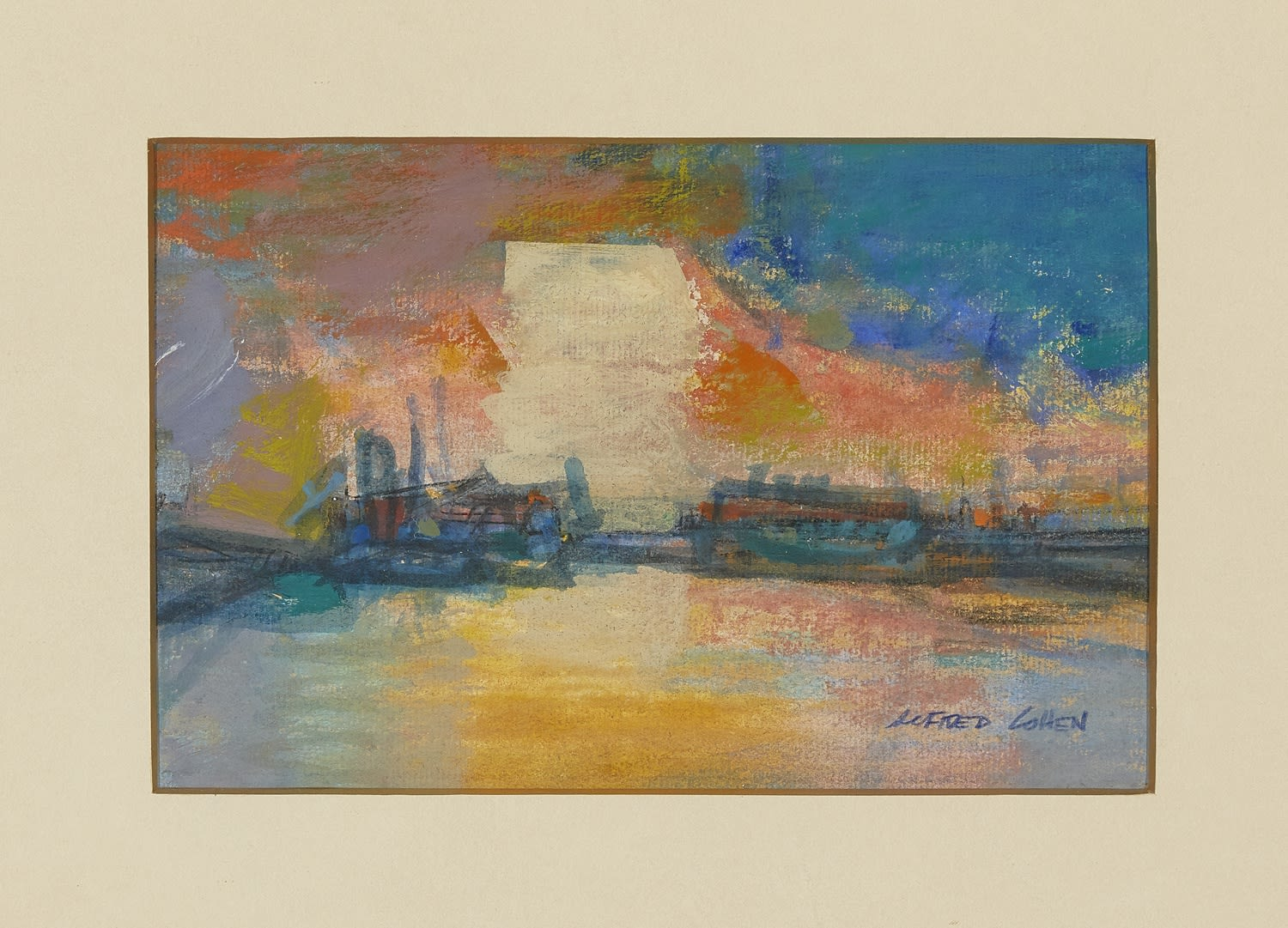 Alfred Cohen (1920-2001) Norfolk Coast - Sunset c. 1991 Casein on paper 14 x 21.6 cm Collection: Max Saunders © Estate of Alfred Cohen 2020