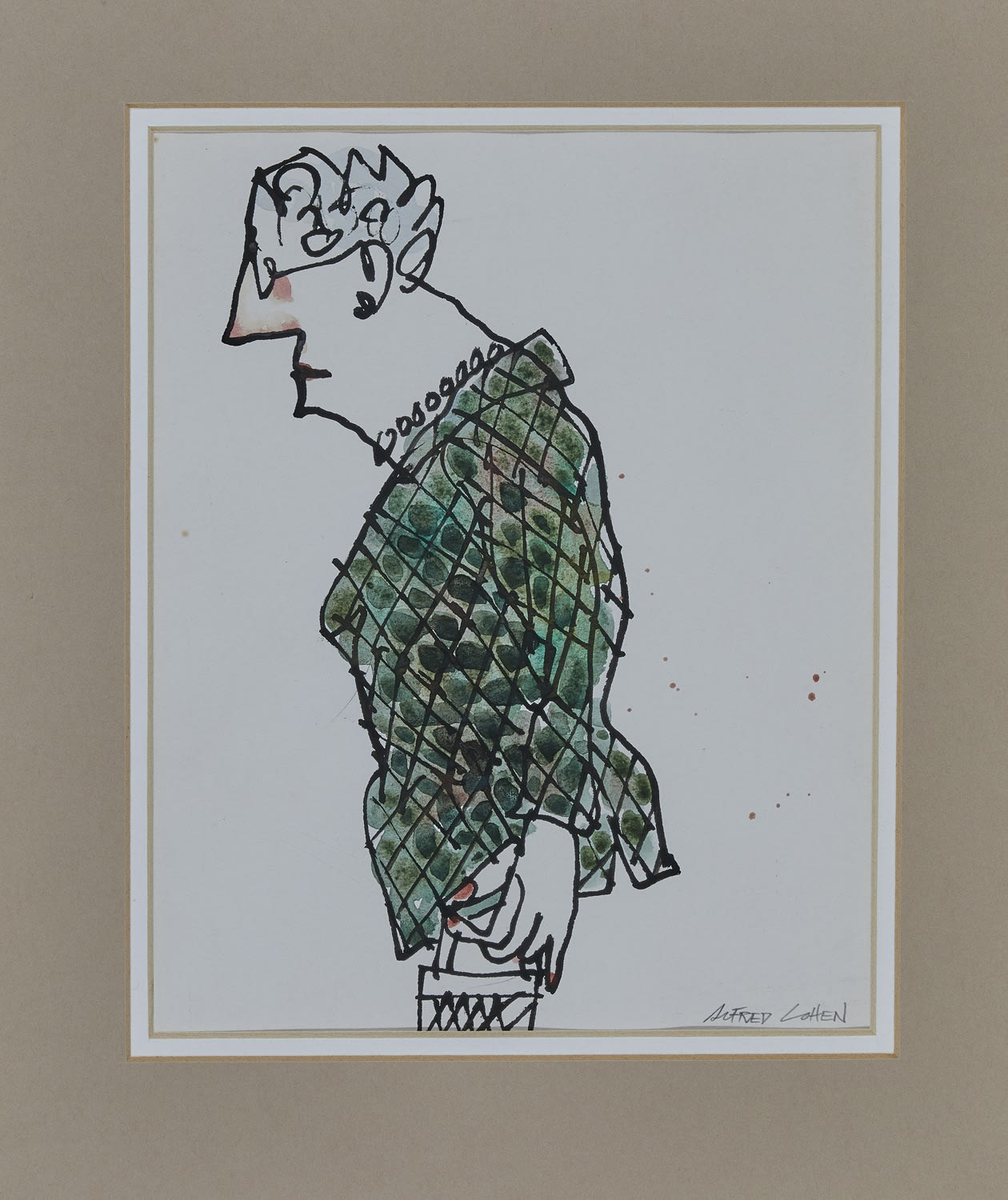 Alfred Cohen (1920-2001) Quilted Jacket c. 1980 Ink and watercolour 25.4 x 20.3 cm Private Collection © Estate of Alfred Cohen 2020