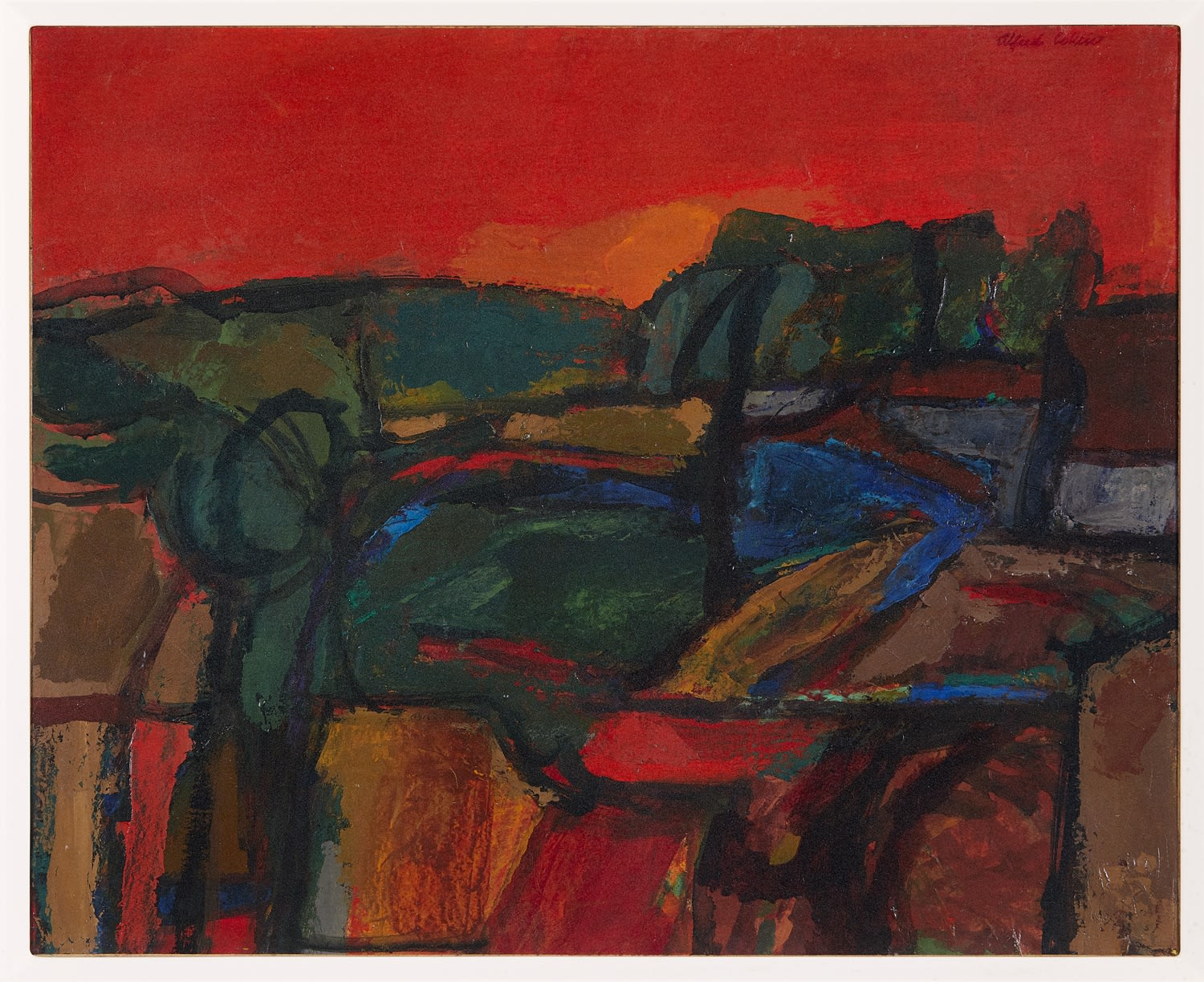 Alfred Cohen (1920-2001) Red Landscape in Kent 1965 Oil on canvas 45.7 x 55.9 cm Alfred Cohen Art Foundation © Estate of Alfred Cohen 2020
