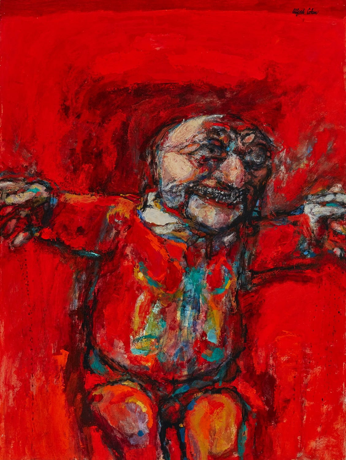 Alfred Cohen (1920-2001) Polichinelle (The Red Punch) 1963 Acrylic on hardboard 101.6 x 76.2 cm Alfred Cohen Art Foundation: gift of Paul Zuckerman © Estate of Alfred Cohen 2020