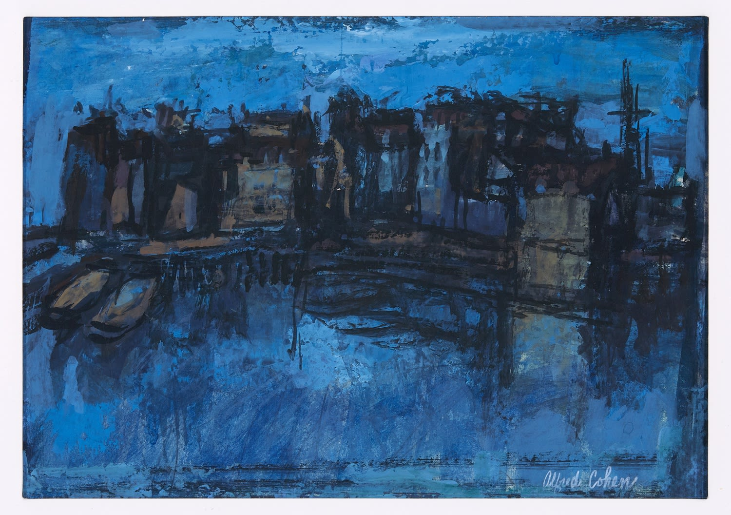Alfred Cohen (1920-2001) River at Night 1963 Gouache and PVA 20.3 x 29.2 cm Private Collection © Estate of Alfred Cohen 2020