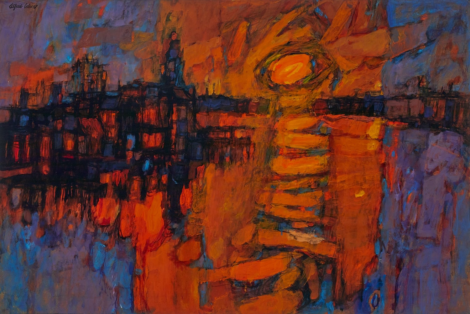 Alfred Cohen (1920-2001) Sunset from Blackfriars Bridge 1960 Oil on board 61 x 91.4 cm Private Collection © Estate of Alfred Cohen 2020