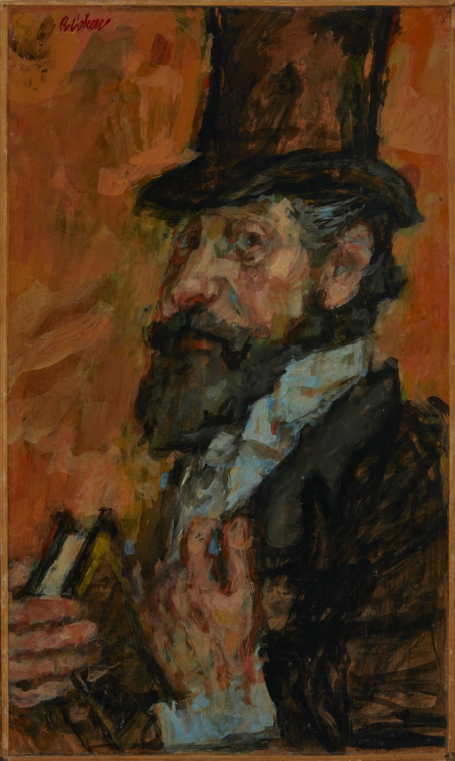 Alfred Cohen (1920-2001) The Rabbi from Dublin c. 1958 Oil on board 53.3 x 30.5 cm Private Collection © Estate of Alfred Cohen 2020