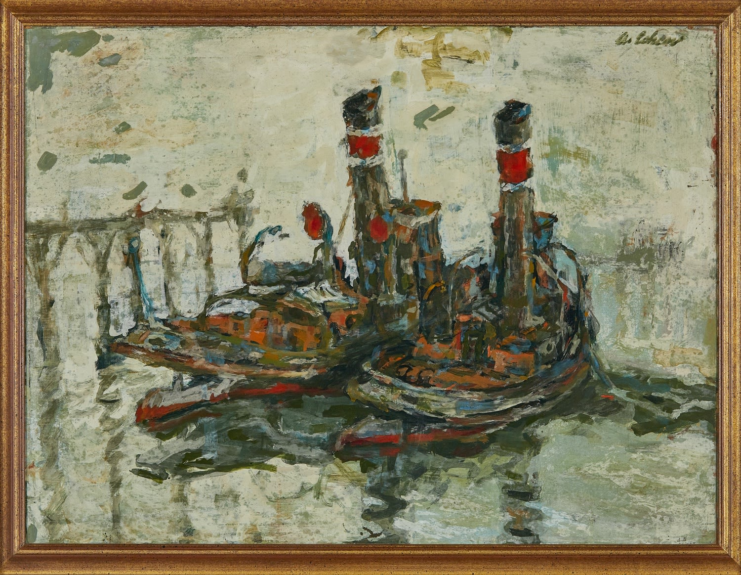Alfred Cohen (1920-2001) Remorqueurs (Tugboats) c. 1958 Oil on board 45.7 x 60.9 cm Private Collection © Estate of Alfred Cohen 2020