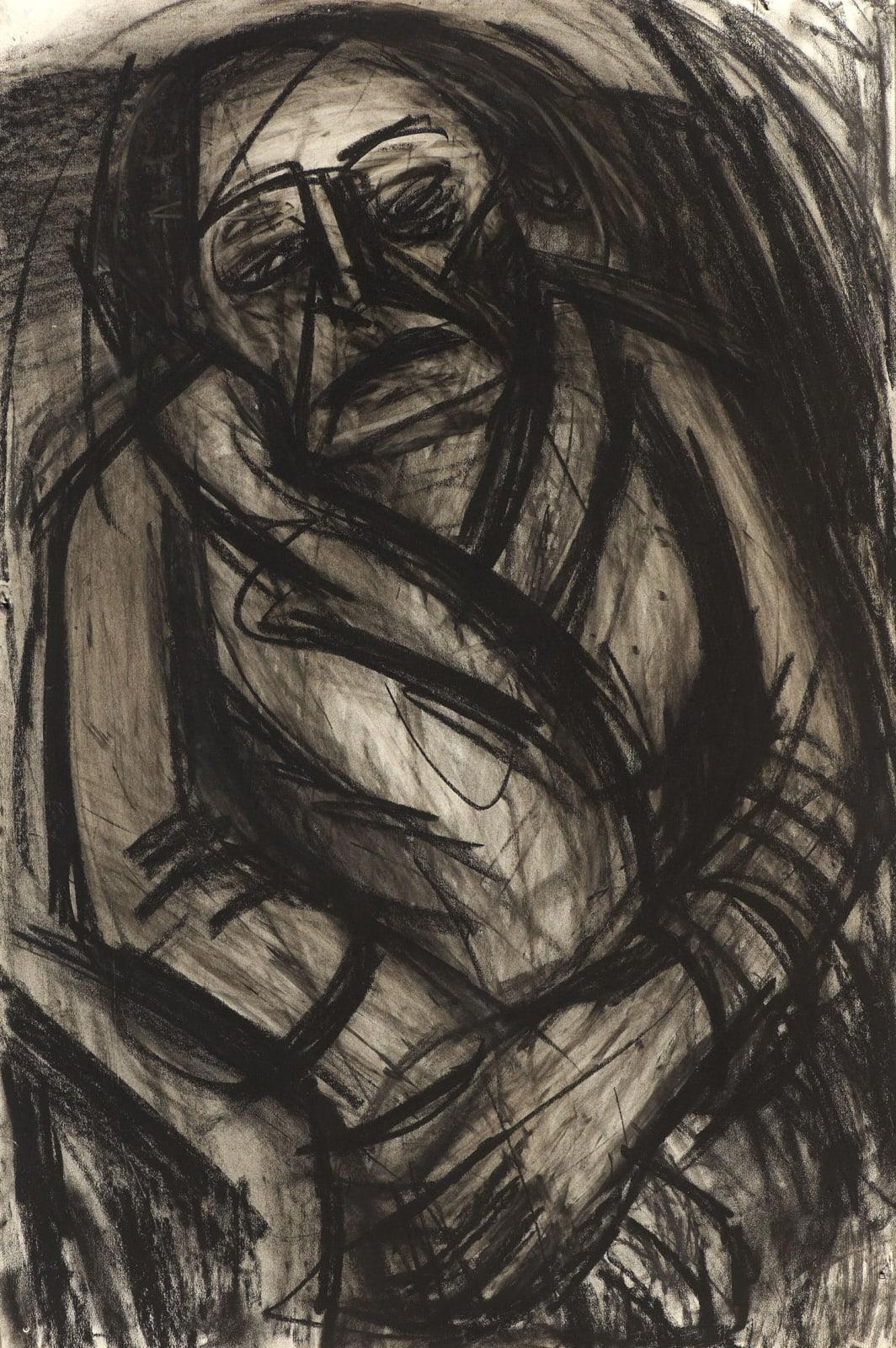 Leon Kossoff Portrait of N.M Seedo, c. 1957 Charcoal on paper 109 x 77cm. Ben Uri Collection