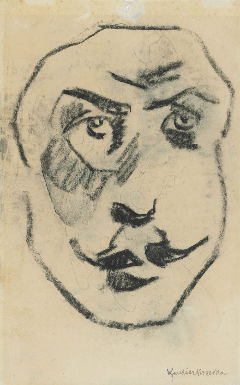 Henri Gaudier-Brzeska Sculptural Head of Brodzky, c. 1913, Black chalk on paper 48 x 36cm. Ben Uri Collection Purchased at Christie's London in March 2018 through the support of three great friends of Manya Igel in her honour