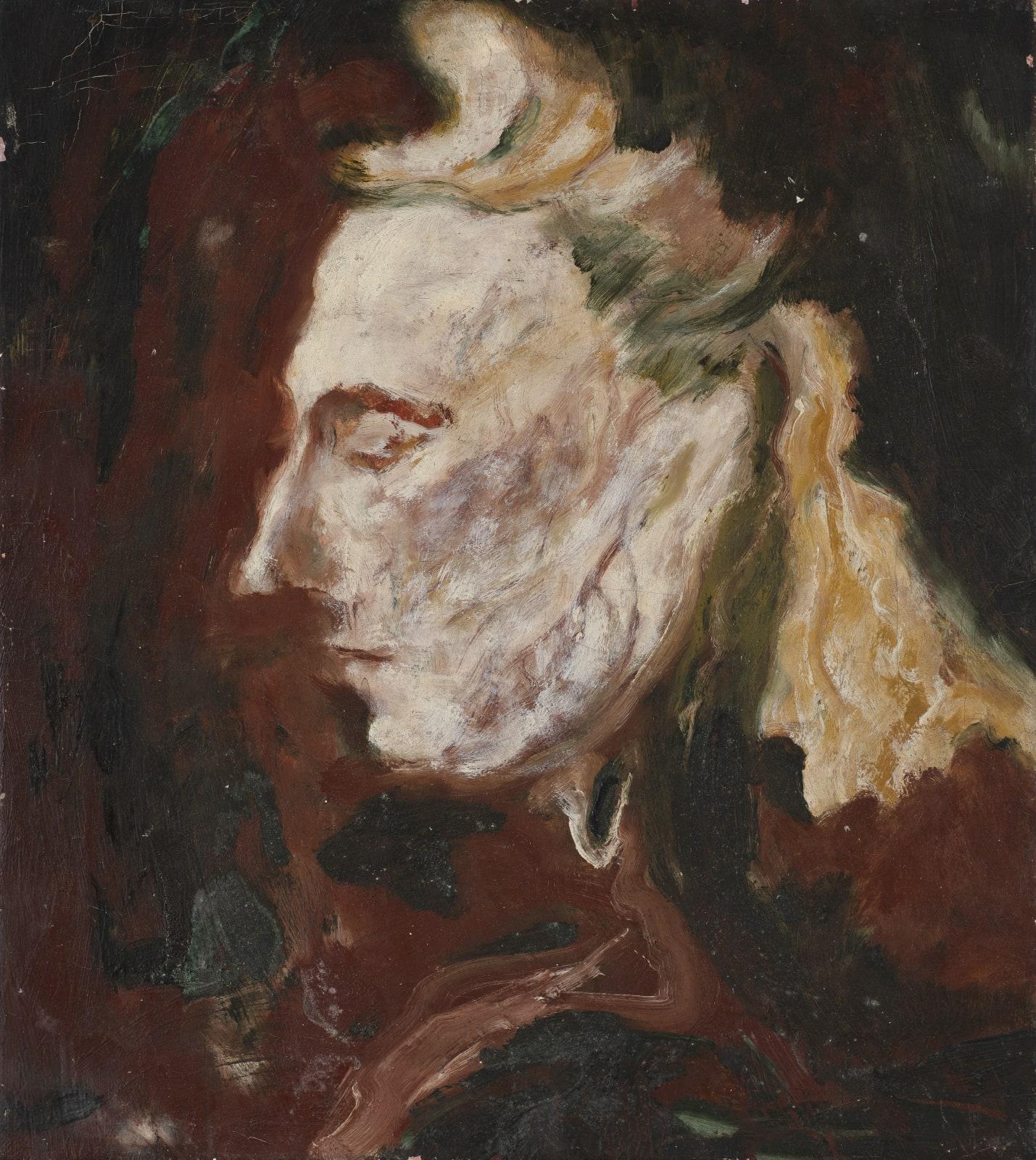 Gustav Metzger Head, 1948, Oil on canvas, 51.5 x 47.3cm. The Gustav Metzger Foundation