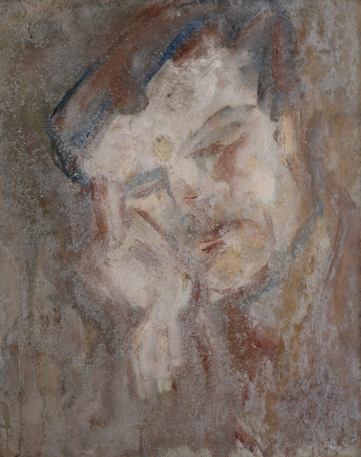 Gustav Metzger Head of a Man, c. 1951-1953 Oil on board 50.6 x 40cm. The Gustav Metzger Foundation