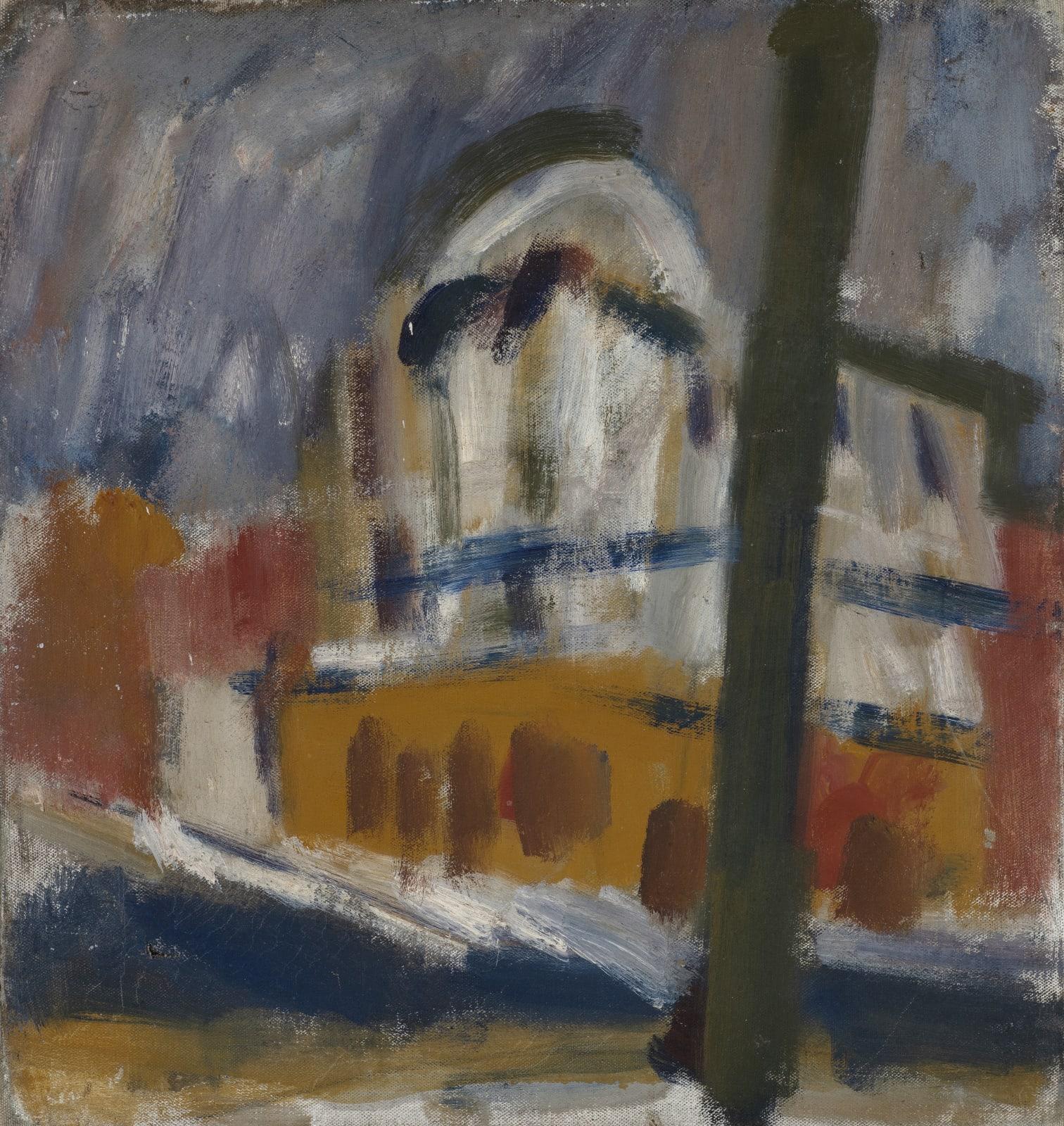 Gustav Metzger Building, c. 1949-53 Oil on canvas 43 x 40cm. The Gustav Metzger Foundation