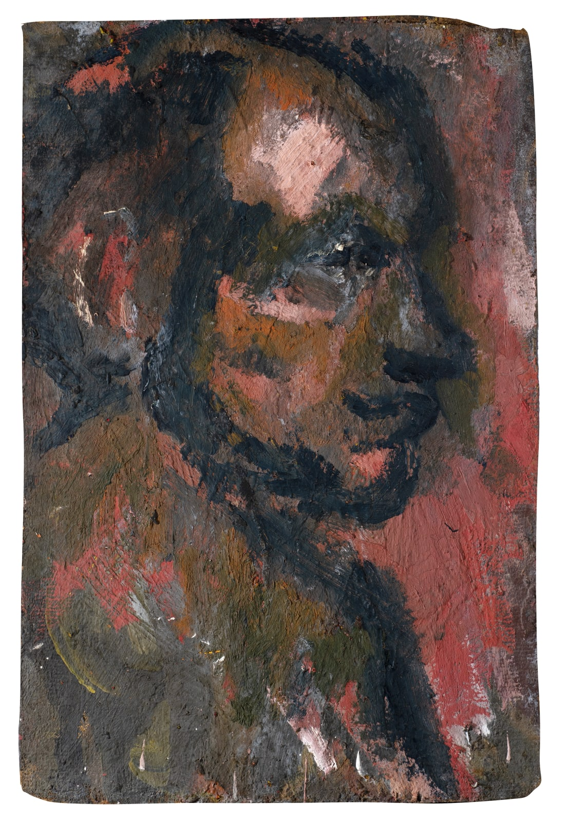 Gustav Metzger Portrait, c. 1949-50 Oil on board 84.5 x 56.4cm. The Gustav Metzger Foundation