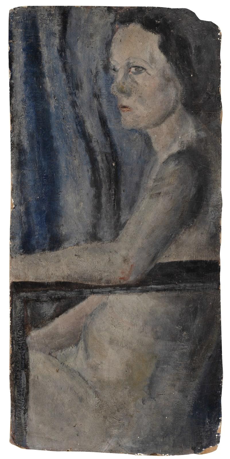 Gustav Metzger Seated Woman, c. 1945-47 Oil on board, 91 x 43cm. The Gustav Metzger Foundation