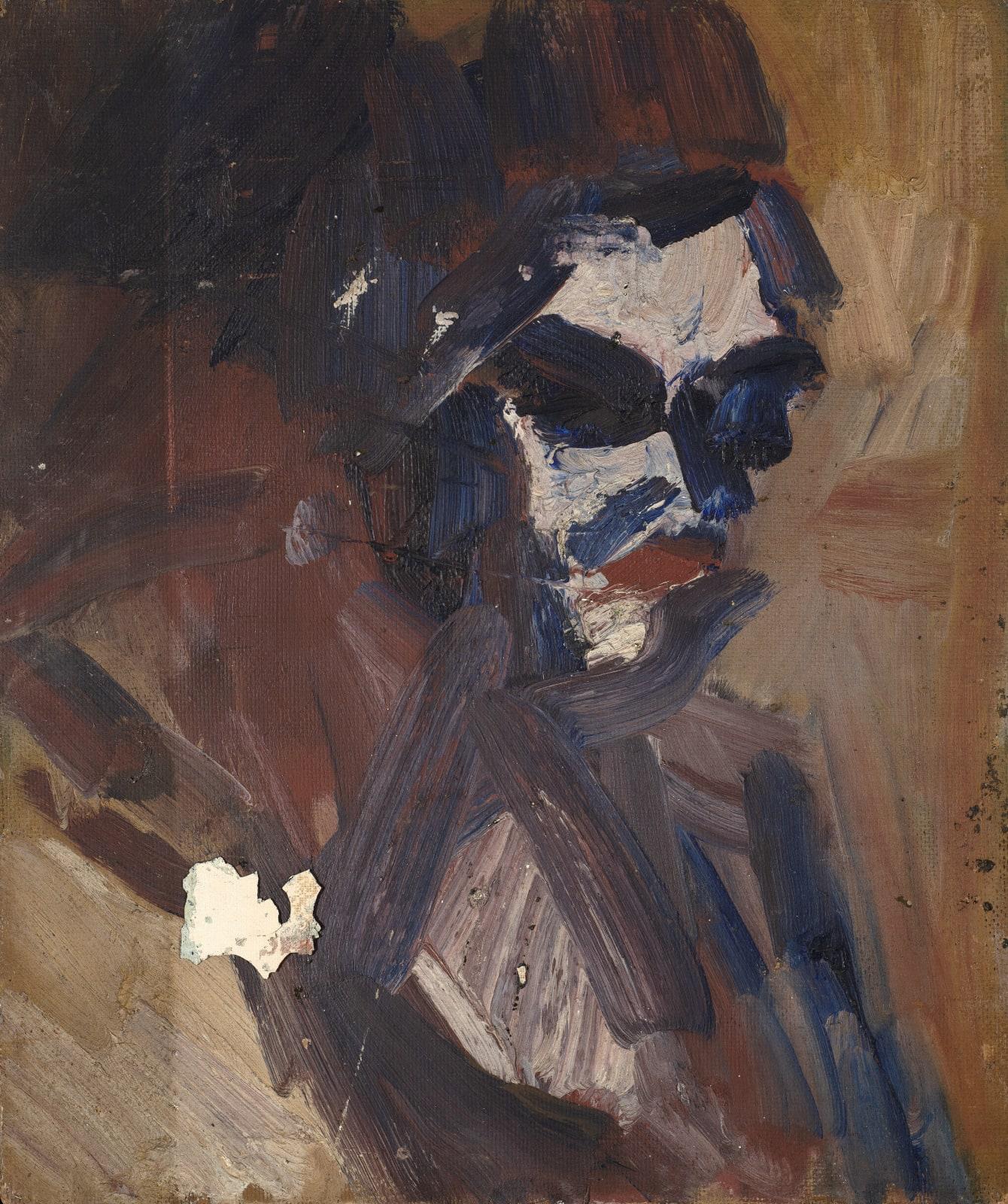 Gustav Metzger Head, c. 1950-53, Oil on board 26 x 17cm. The Gustav Metzger Foundation