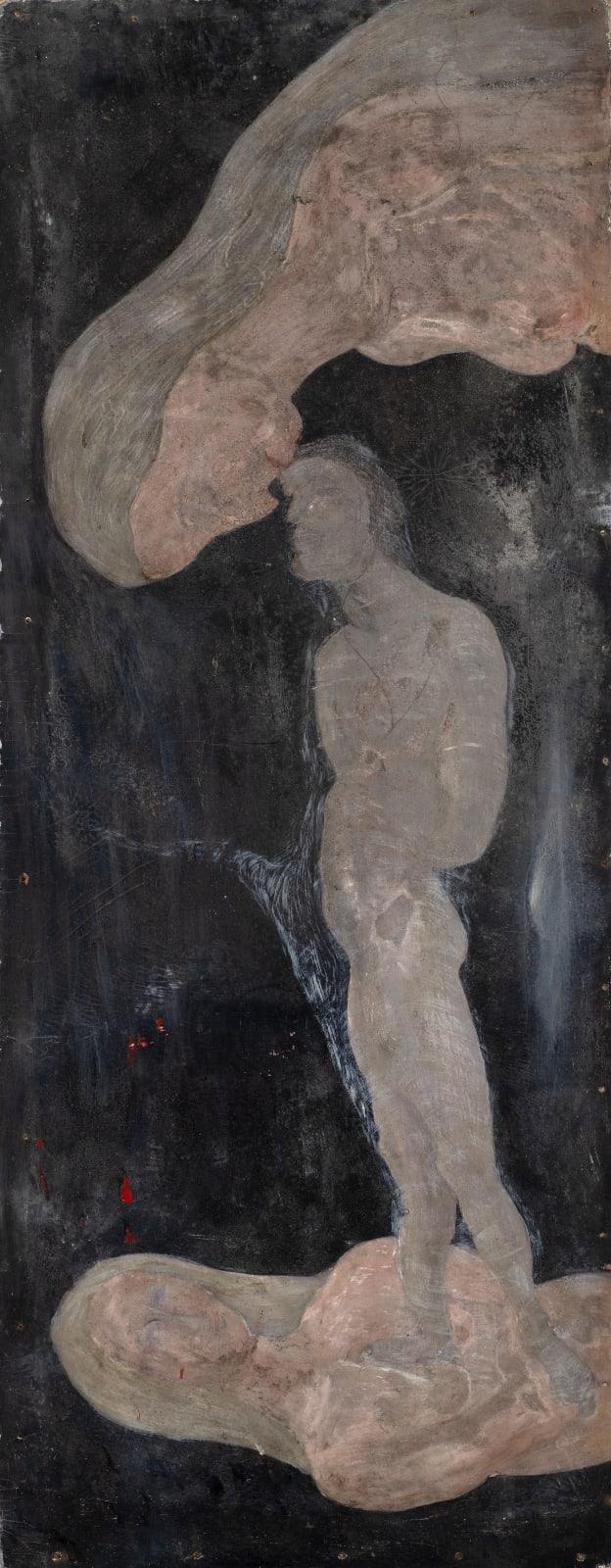 Gustav Metzger Untitled, c.1945-47 Oil on board 121 x 47cm. The Gustav Metzger Foundation